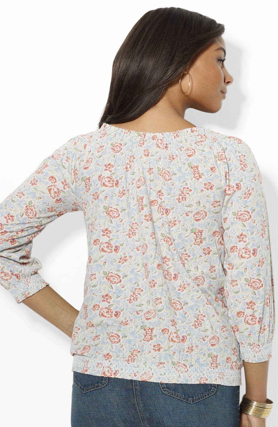 Alternate Image 2  - Lauren Ralph Lauren Print Peasant Top (Plus Size)