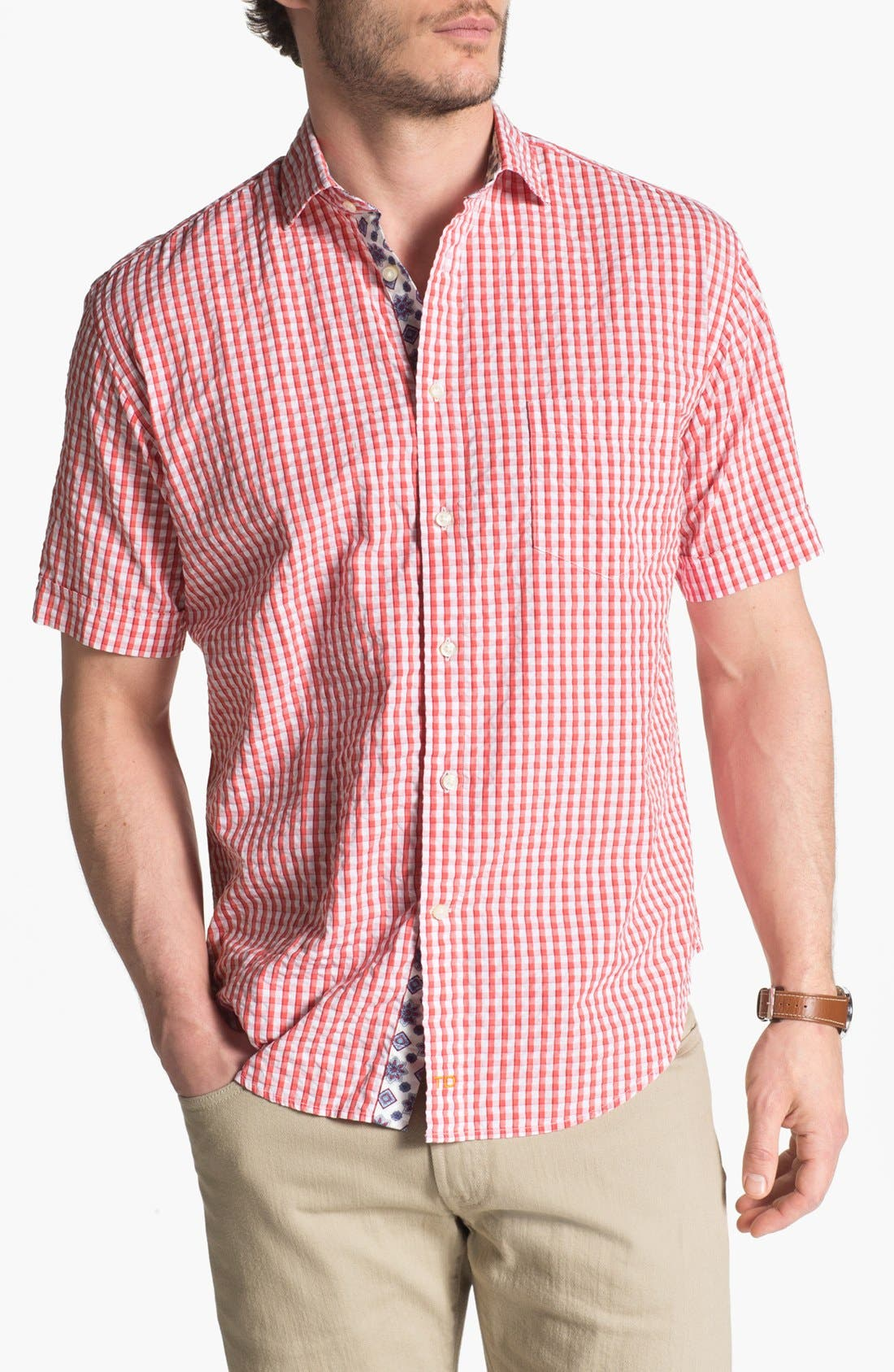 Alternate Image 1 Selected - Thomas Dean Seersucker Sport Shirt