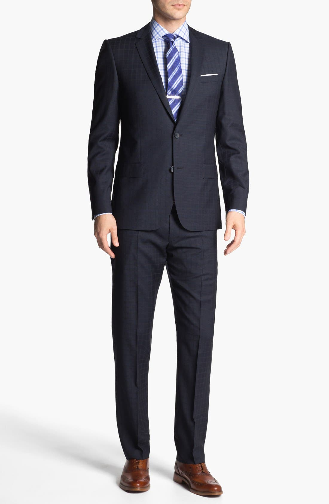 Alternate Image 1 Selected - HUGO 'Amaro/Heise' Trim Fit Check Suit