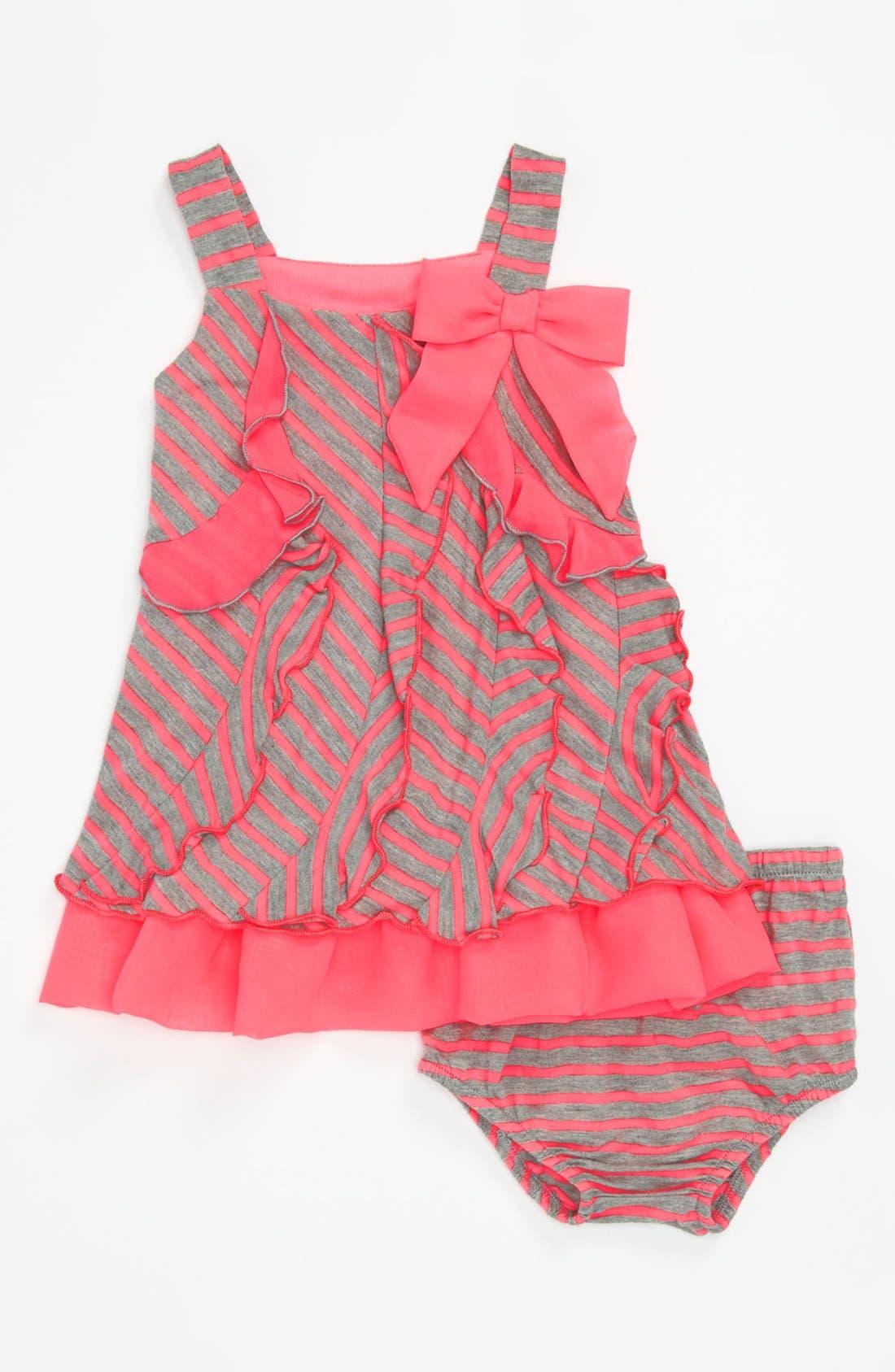 Alternate Image 1 Selected - Iris & Ivy Neon Ruffle Dress & Bloomers (Baby)