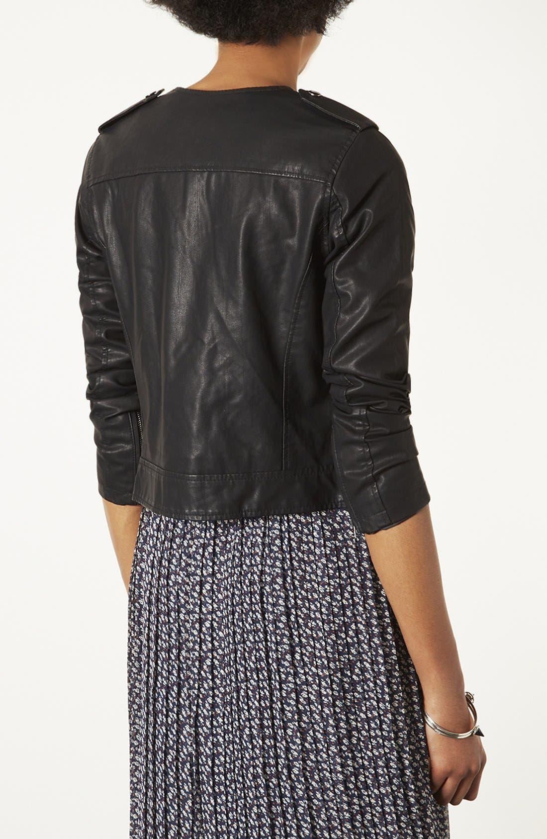 Alternate Image 2  - Topshop 'Mirabelle' Faux Leather Biker Jacket