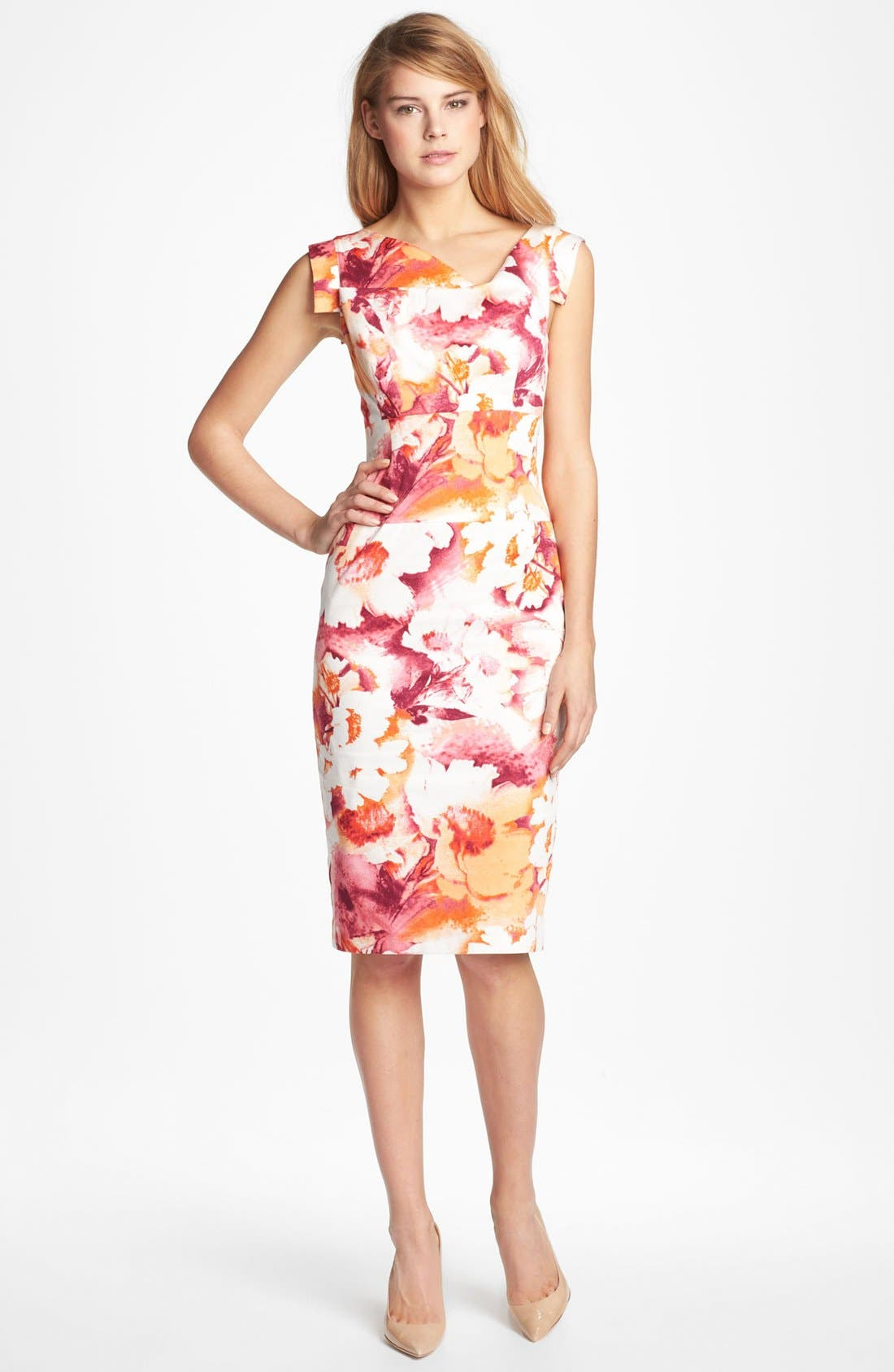 Alternate Image 1 Selected - Black Halo Tab Sleeve Print Sheath Dress