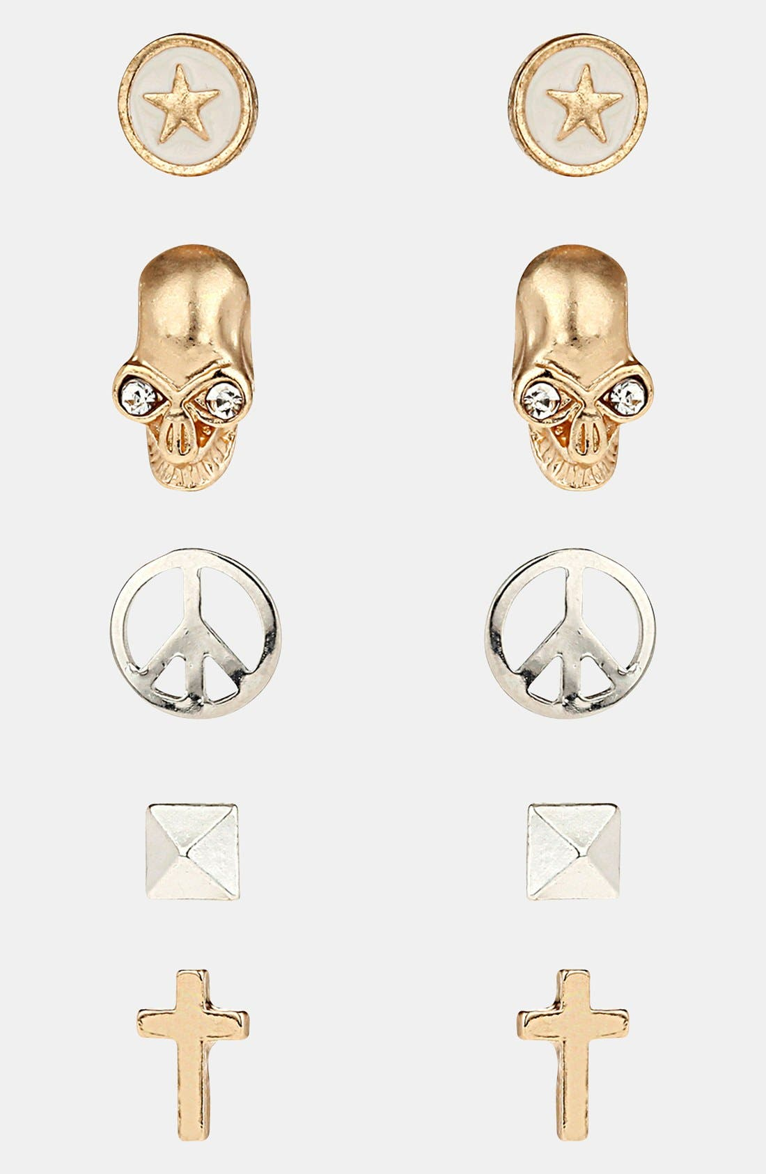 Main Image - Topshop 'Skull/Star/Cross' Stud Earrings (Set of 5)