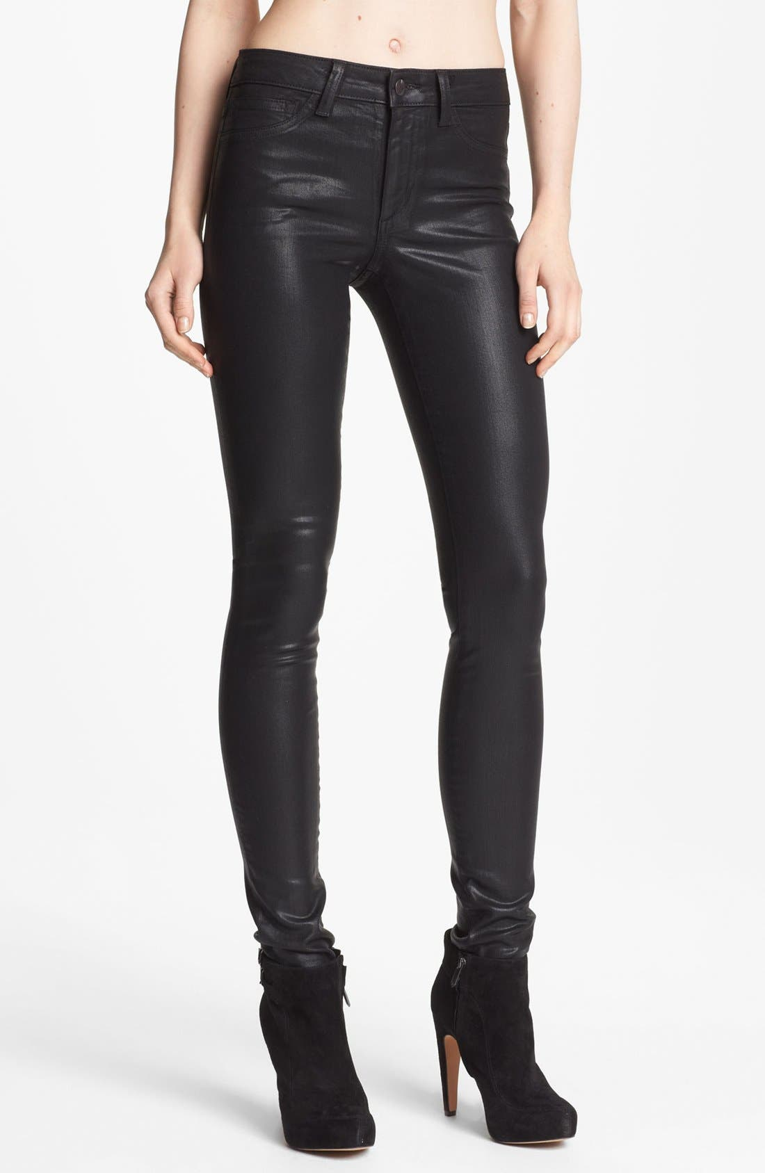 Alternate Image 1 Selected - Joe's 'The Skinny' Coated Stretch Jeans (Black)