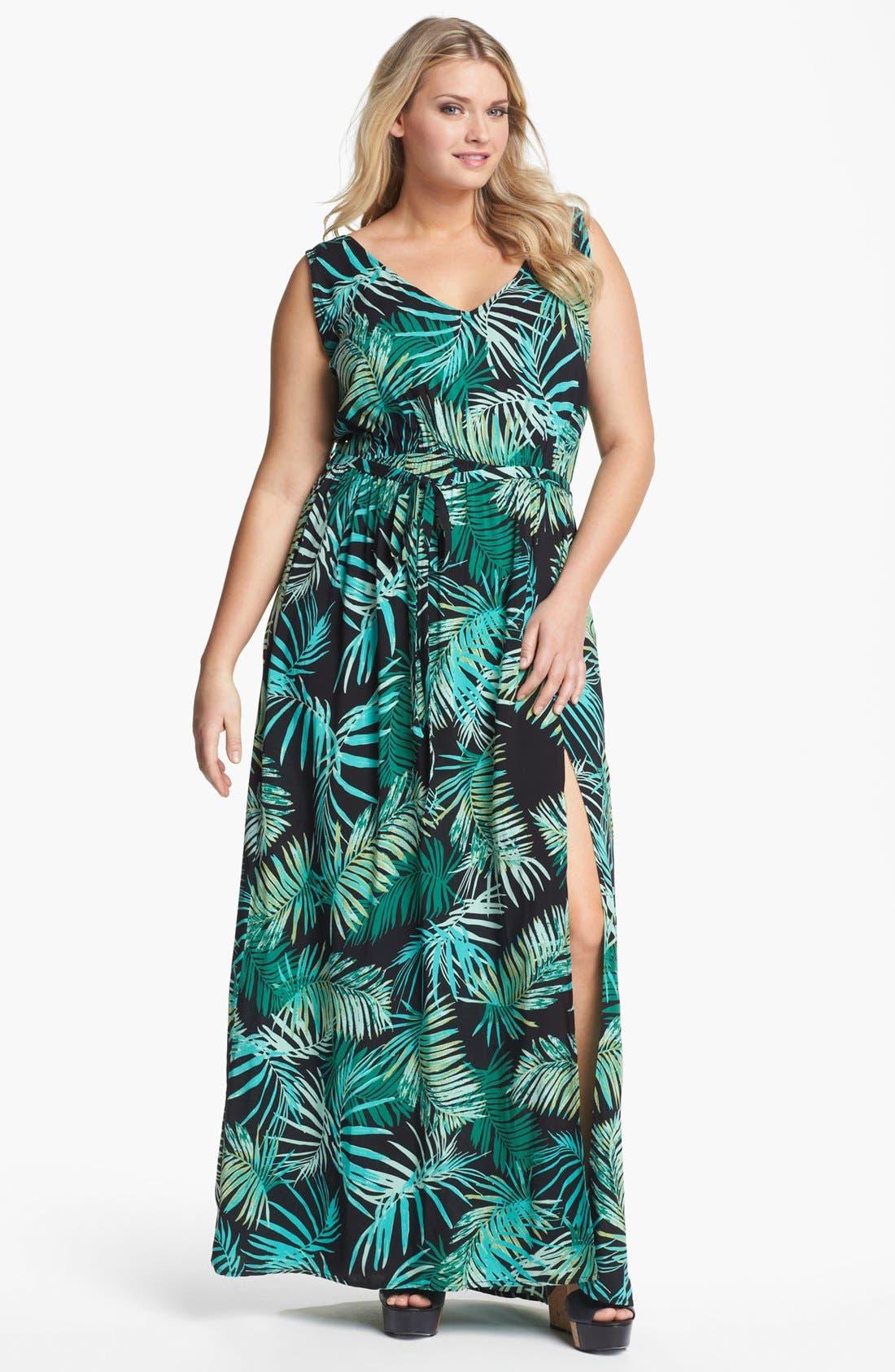 Alternate Image 1 Selected - Eight Sixty Print Sleeveless Maxi Dress (Plus Size)