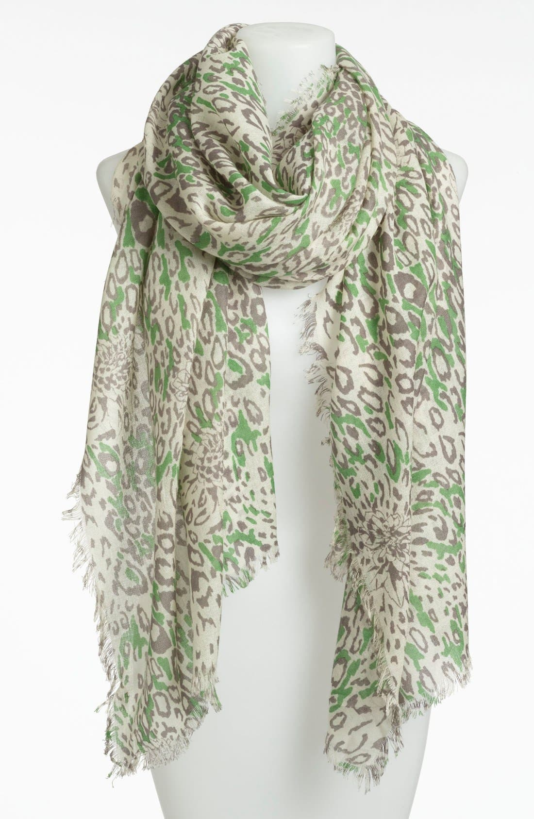 Alternate Image 1 Selected - Nordstrom 'Garden Leopard' Print Wool Scarf