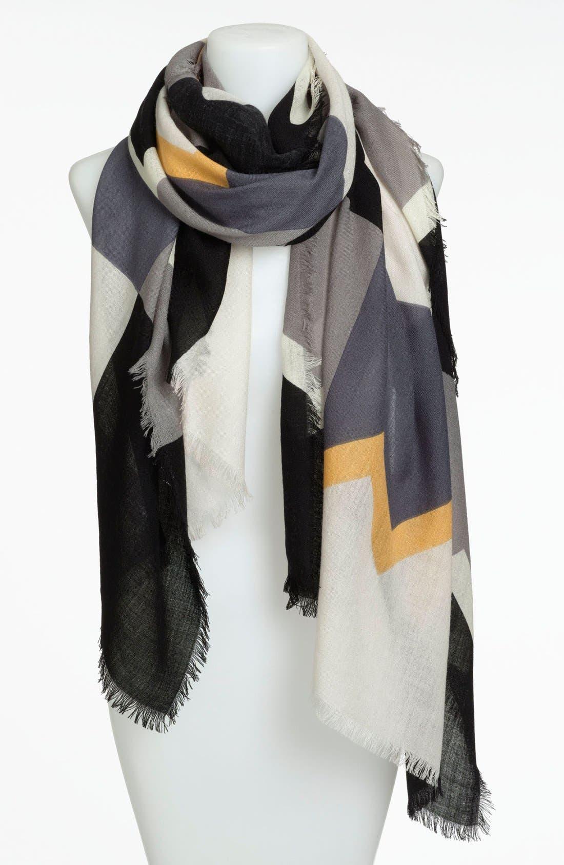 Main Image - Nordstrom Colorblock Print Wool Scarf