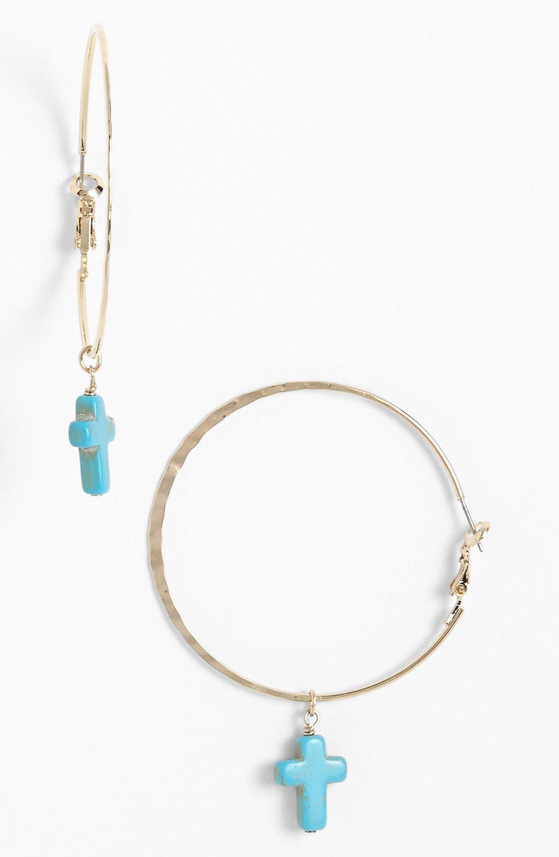 Alternate Image 1 Selected - Rachel Cross Charm Hoop Earrings