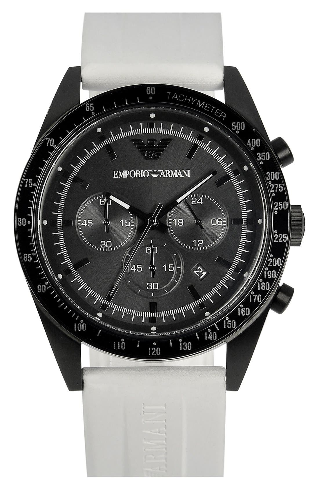 Alternate Image 1 Selected - Emporio Armani Silicone Strap Sports Watch, 43mm