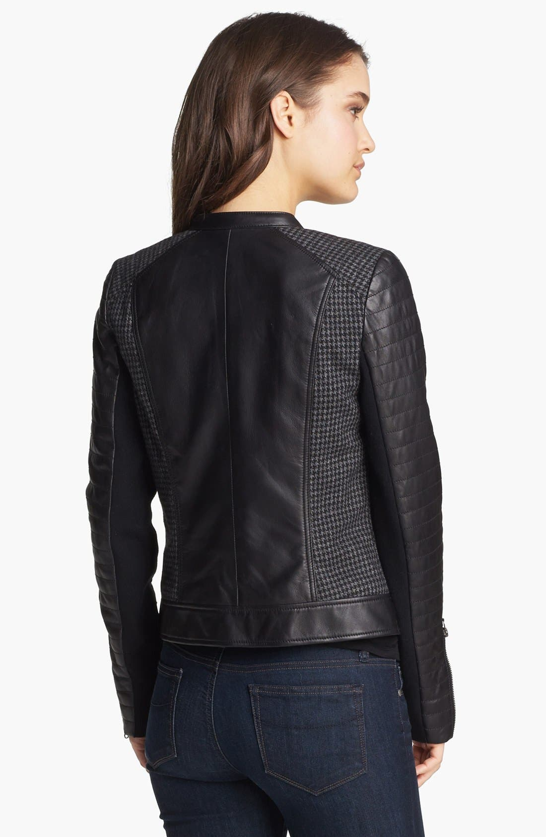 Alternate Image 2  - Trouvé Houndstooth Panel Quilted Leather Moto Jacket