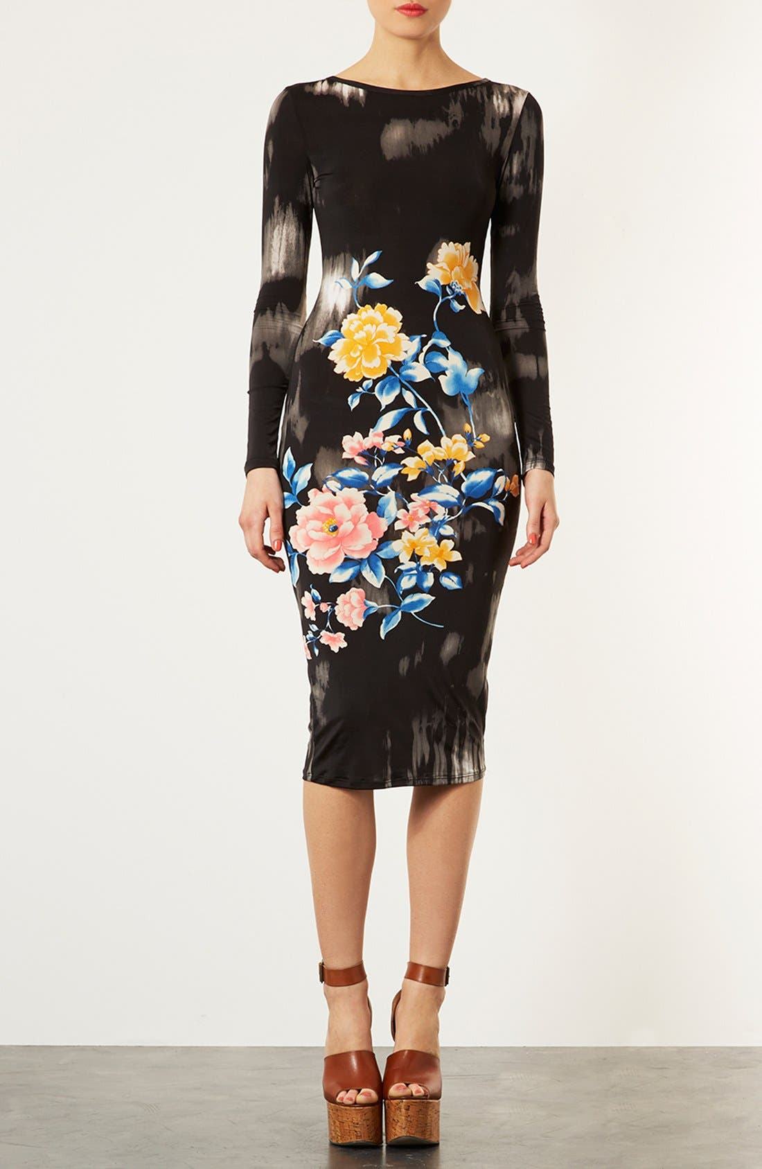 Alternate Image 3  - Topshop Eastern Floral Body-Con Dress