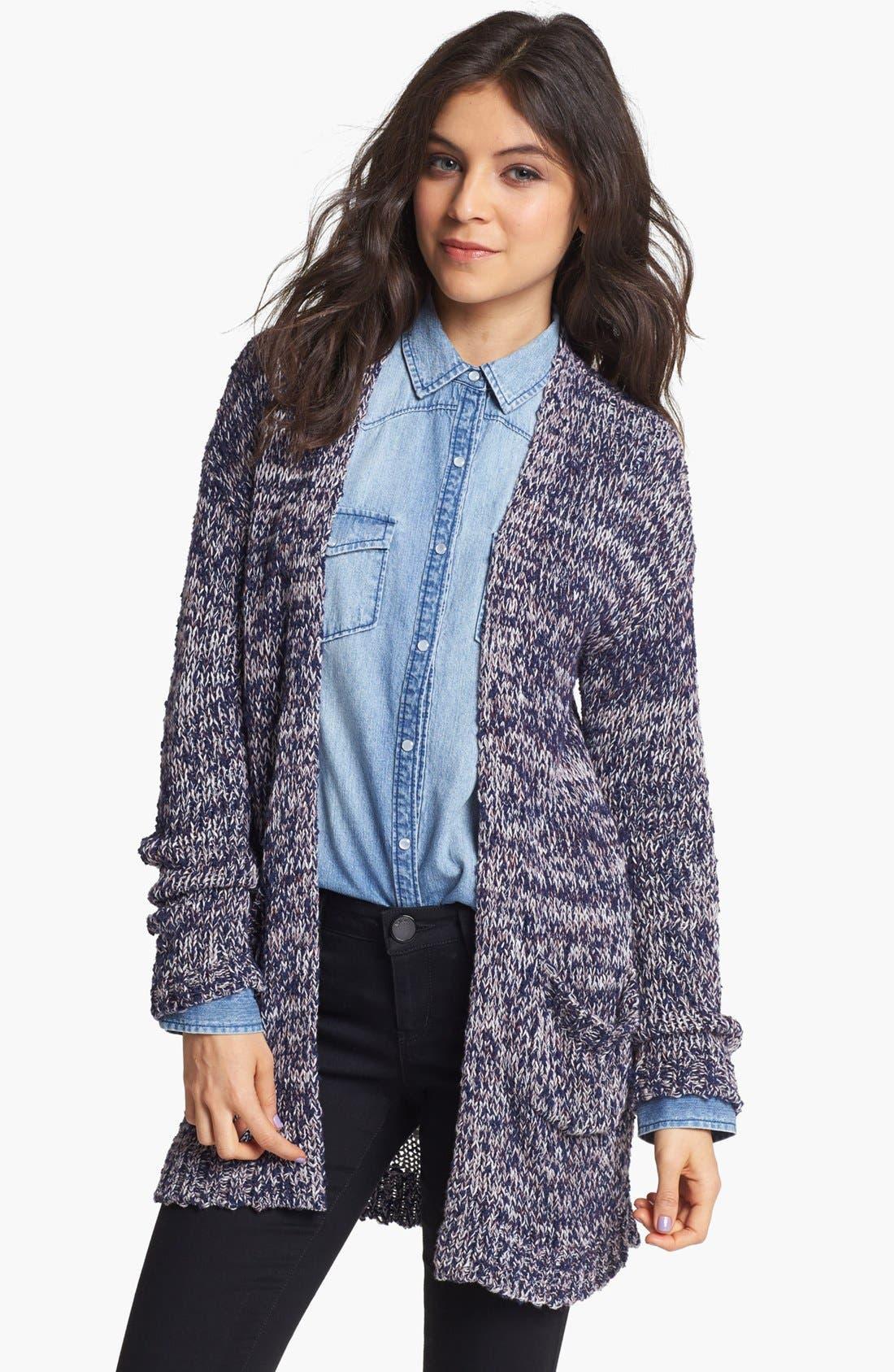 Main Image - Rubbish® Textured Marled Cardigan (Juniors)