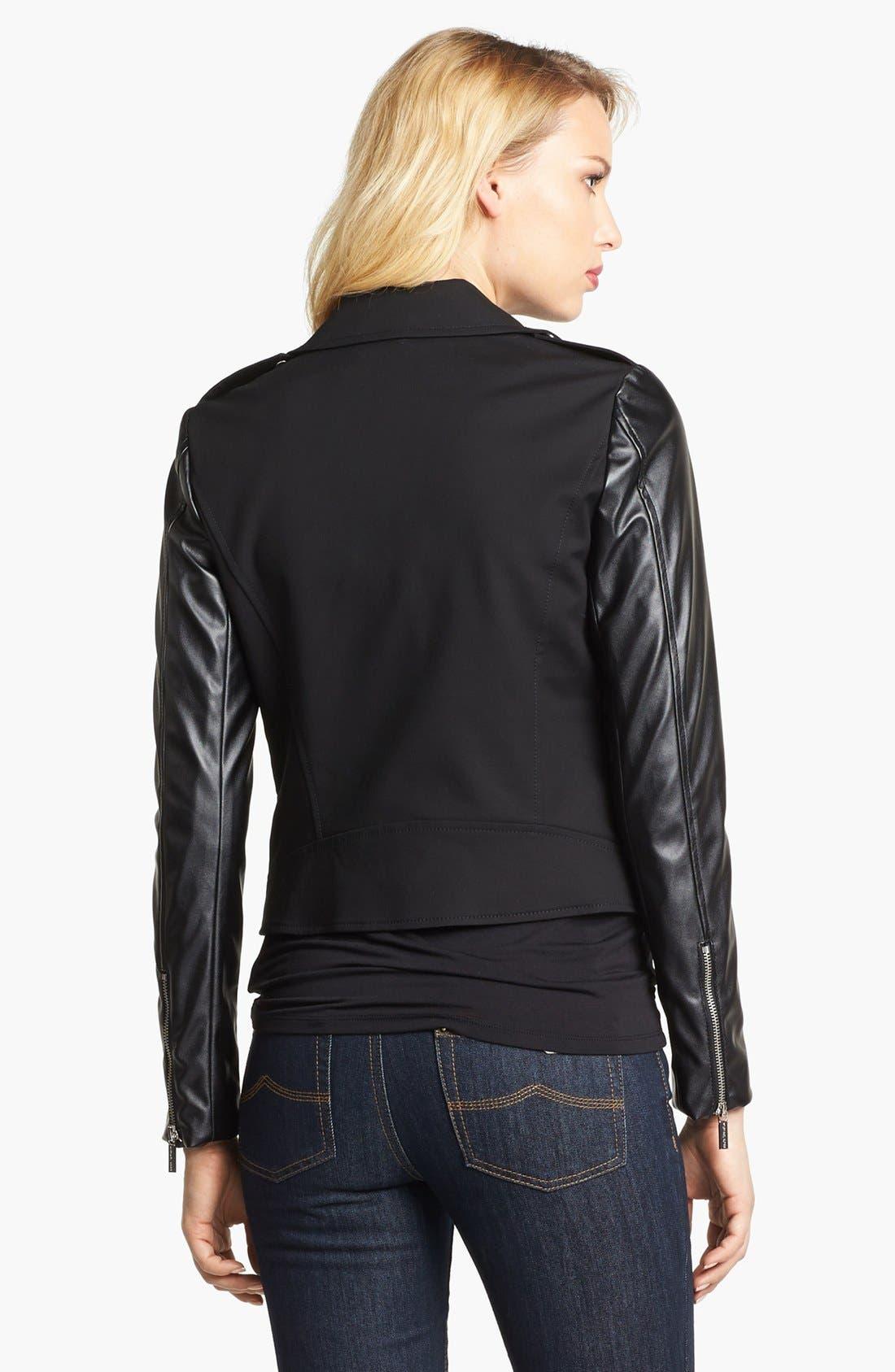 Alternate Image 2  - MICHAEL Michael Kors Knit & Faux Leather Moto Jacket