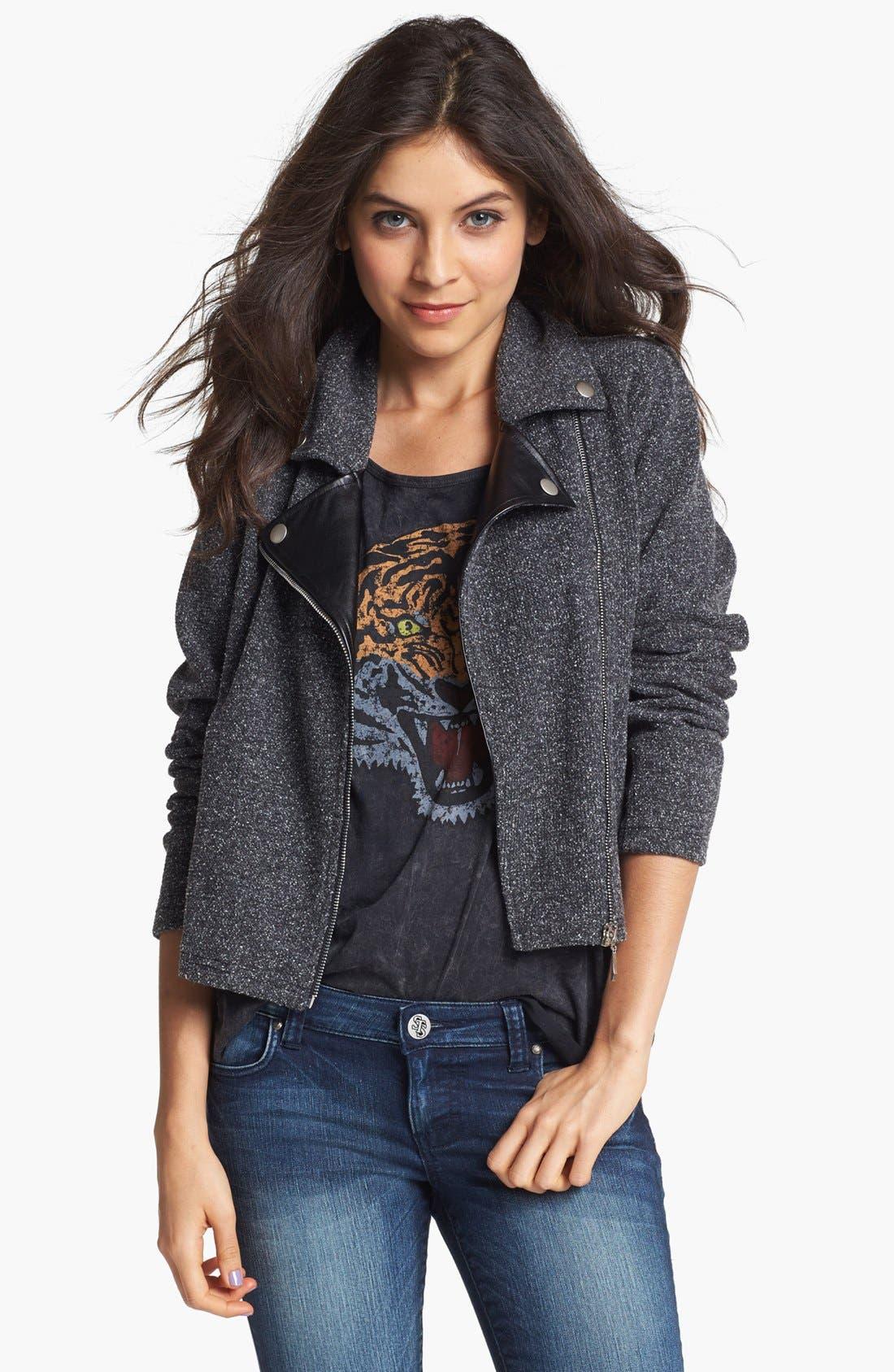 Main Image - Original Frenchi Faux Leather Lapel Tweed Moto Jacket (Juniors)