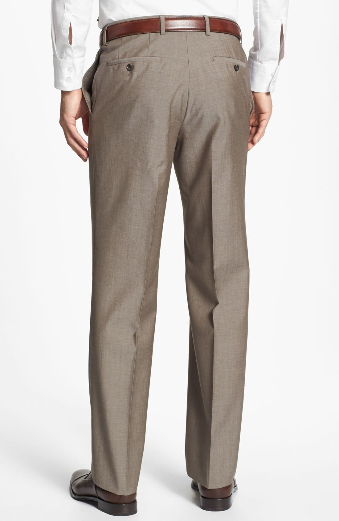 Alternate Image 2  - BOSS HUGO BOSS 'Jeffrey US' Flat Front Pinpoint Wool Trousers