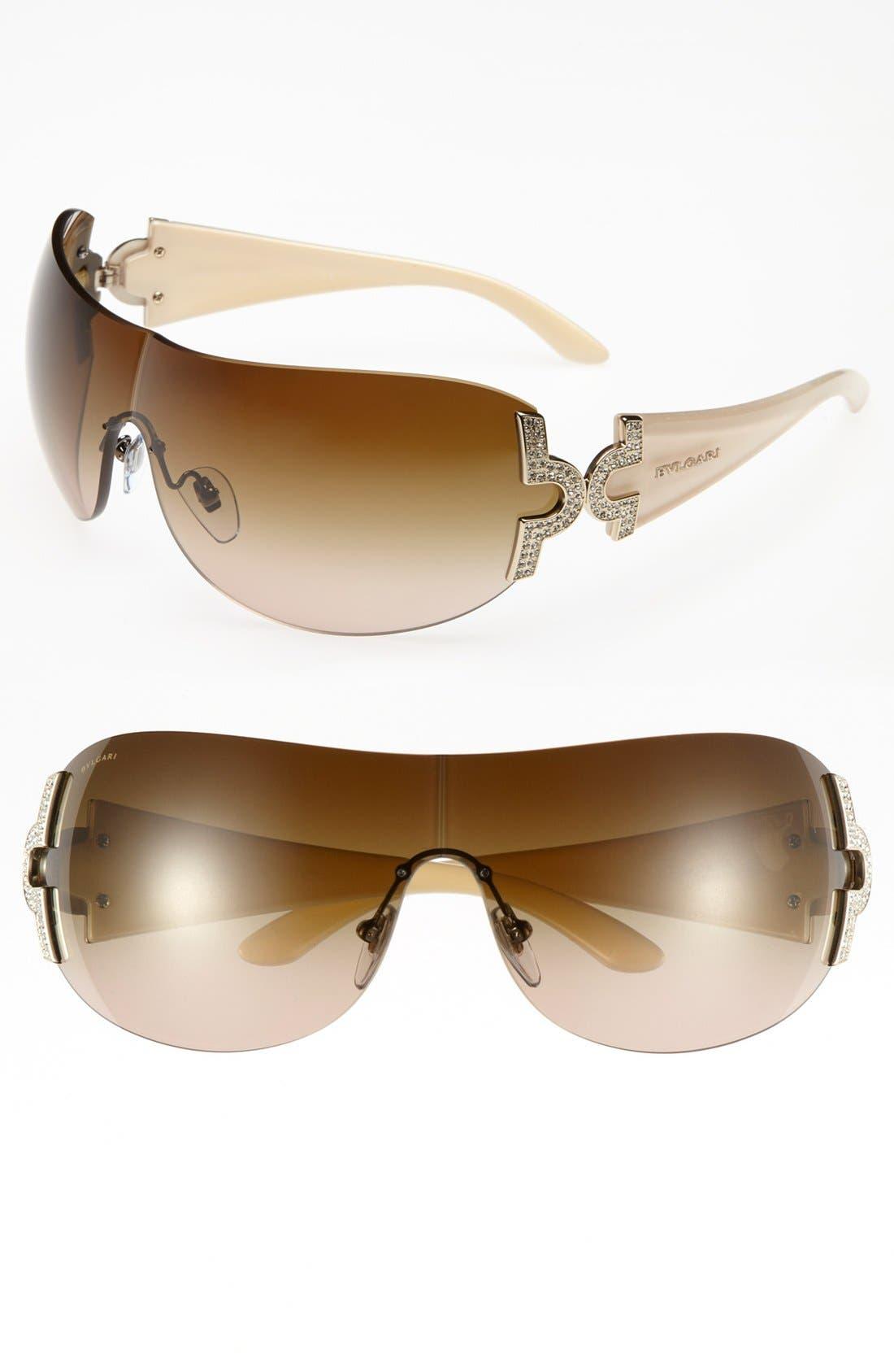 Main Image - BVLGARI 39mm Embellished Temple Shield Sunglasses