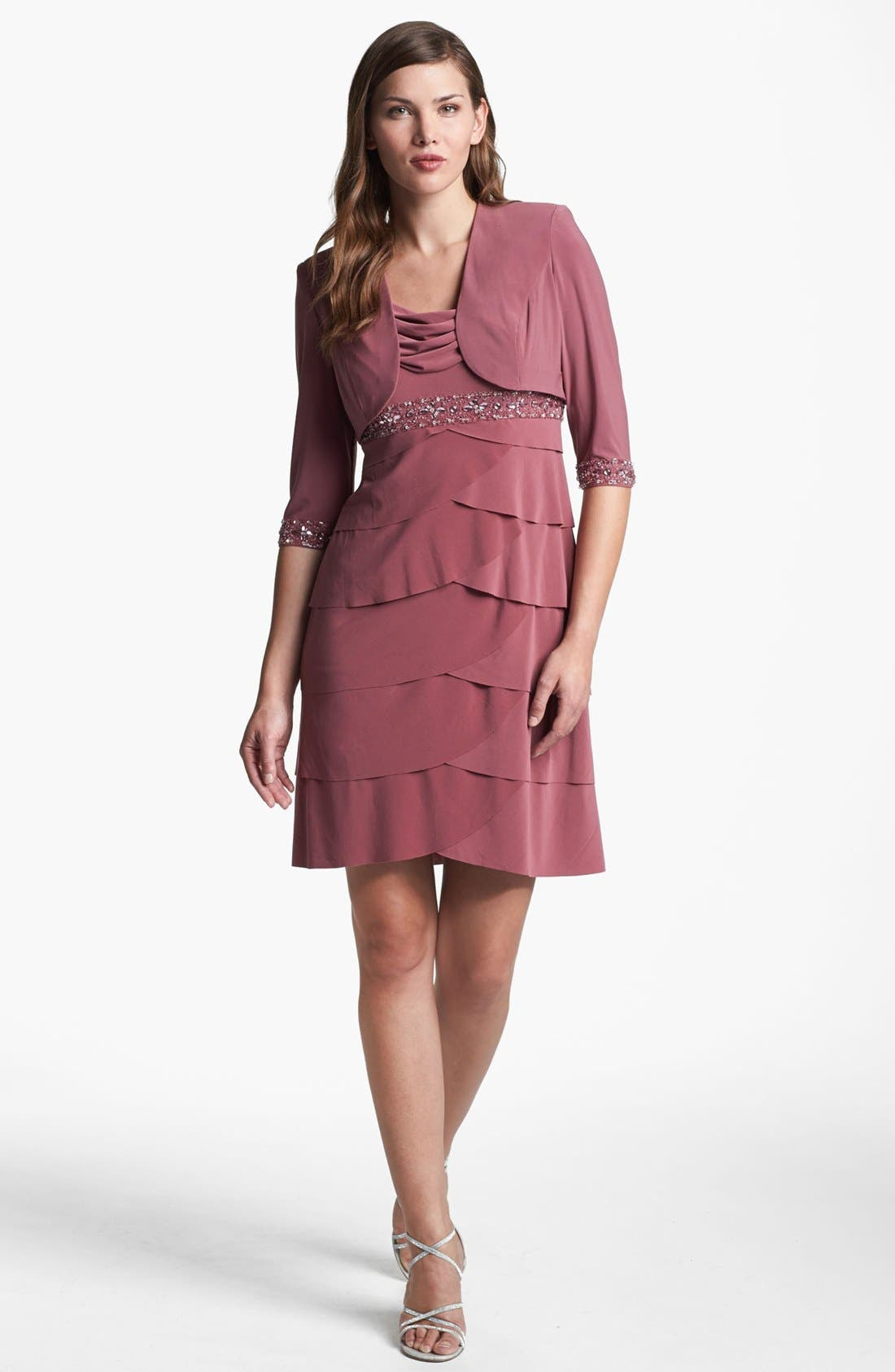 Alternate Image 1 Selected - Alex Evenings Tiered Dress & Bolero (Petite)