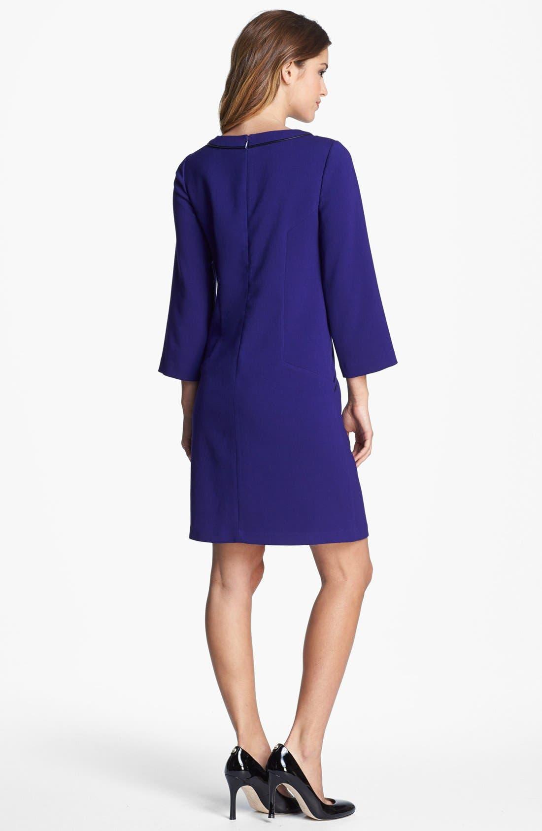 Alternate Image 2  - Eliza J Faux Leather Trim Shift Dress