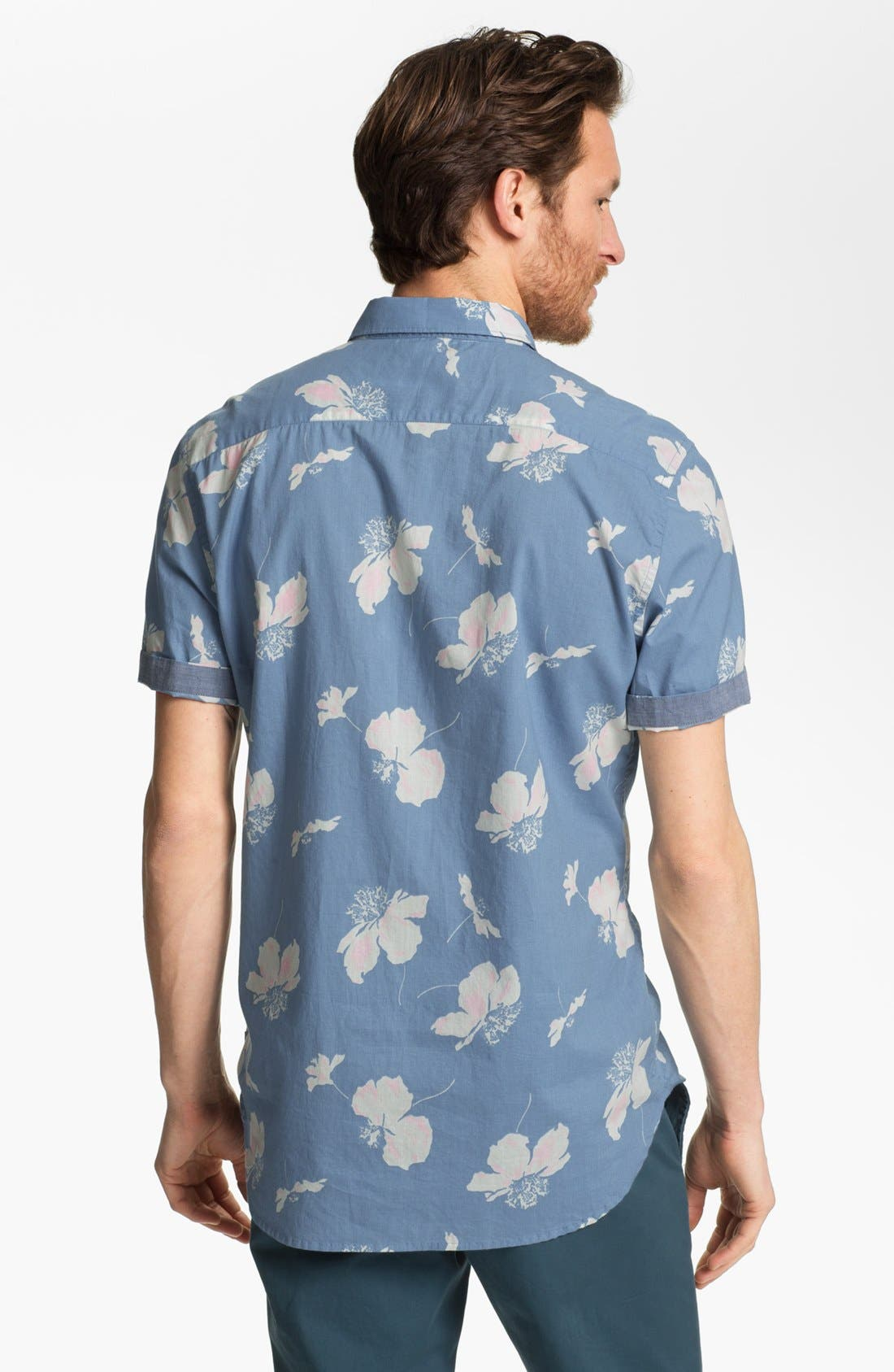 Alternate Image 2  - French Connection Slim Fit Short Sleeve Sport Shirt (Online Only)