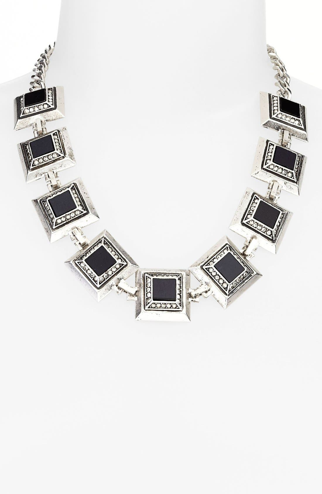 Main Image - St. John Collection Square Glass & Crystal Station Collar Necklace