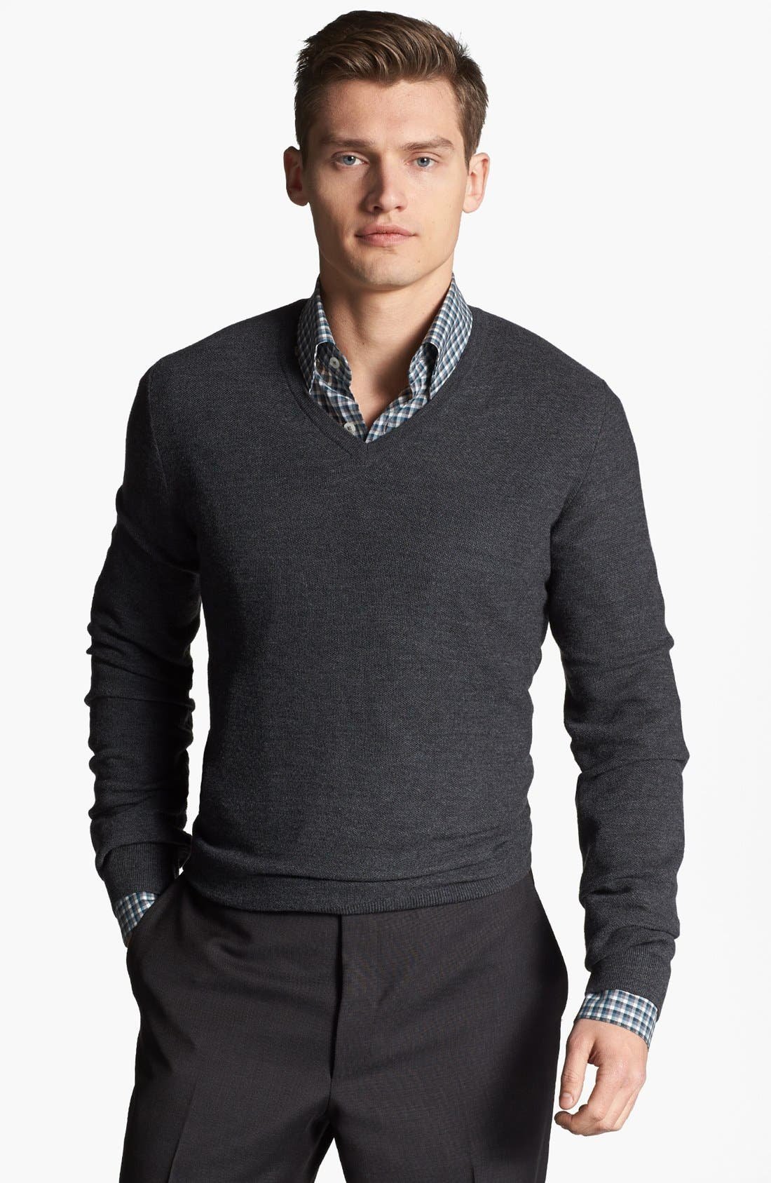 Alternate Image 1 Selected - Canali Wool V-Neck Sweater