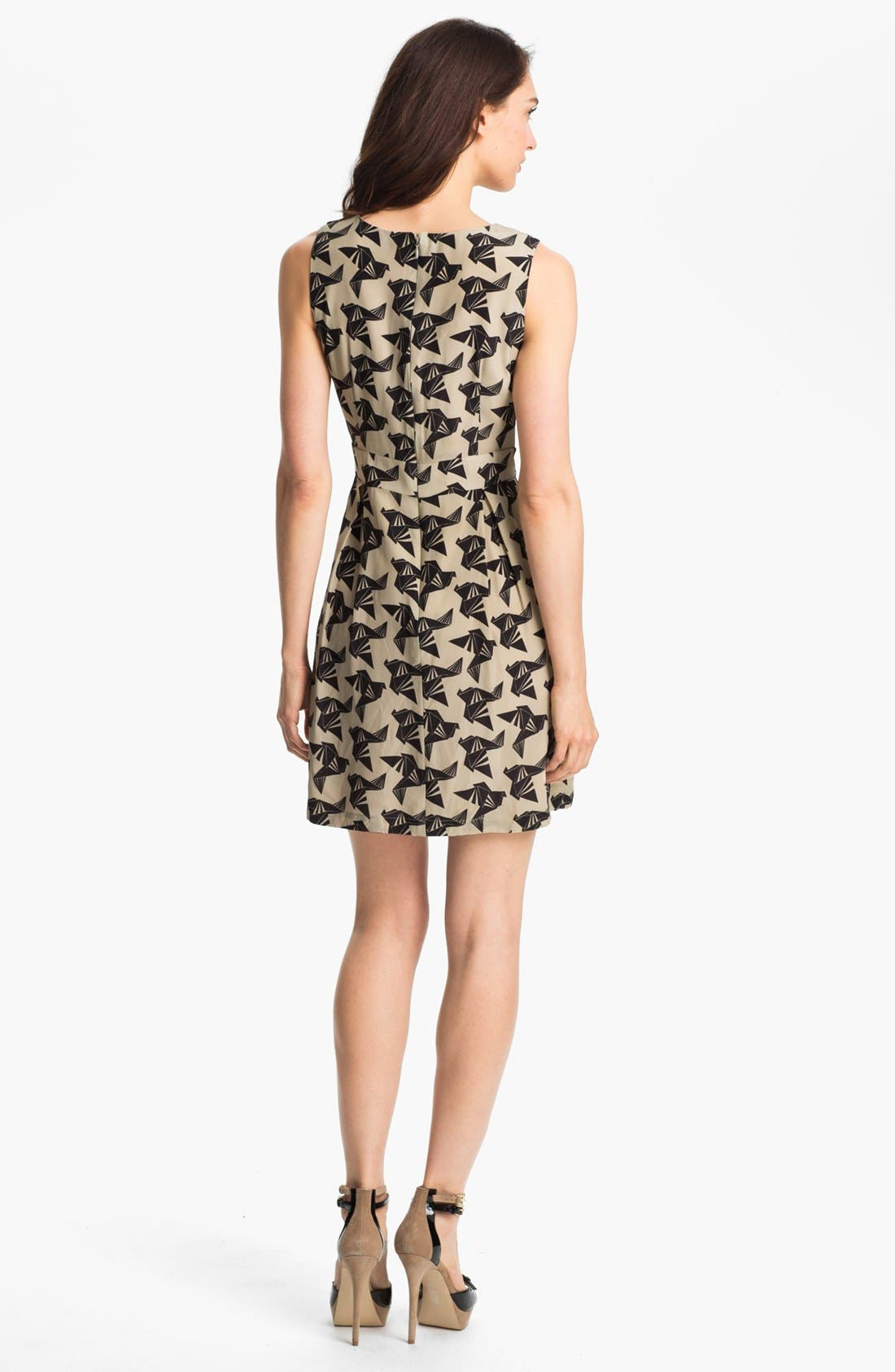 Alternate Image 2  - Eliza J Bird Print Sleeveless Dress (Petite)