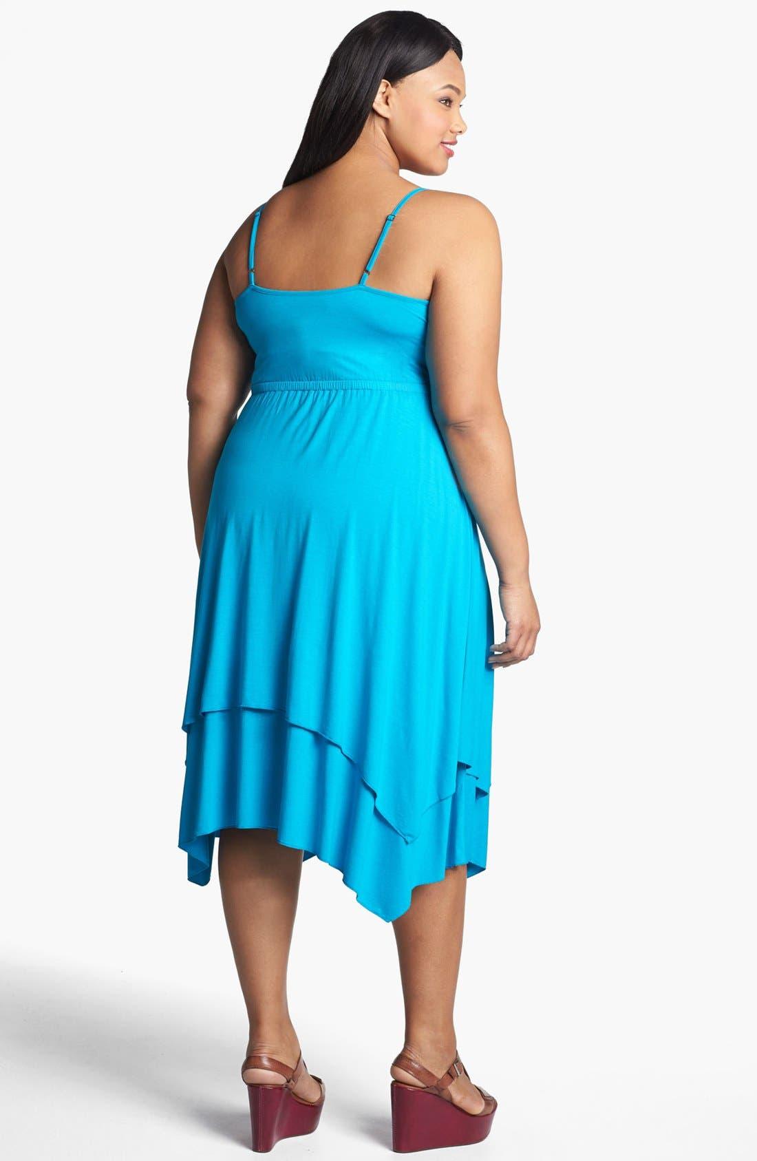 Alternate Image 2  - Three Dots Layered Skirt Sundress (Plus Size)