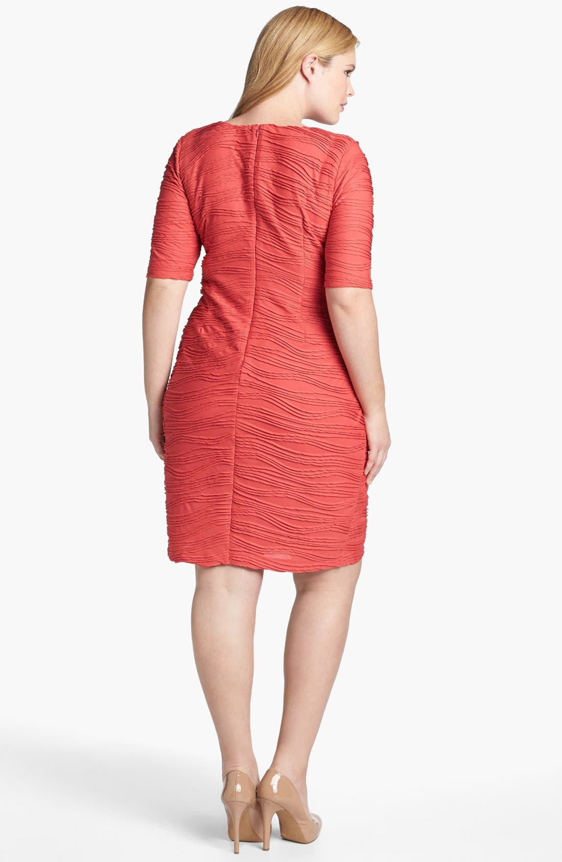 Alternate Image 2  - London Times Textured Short Sleeve Sheath Dress (Plus Size)