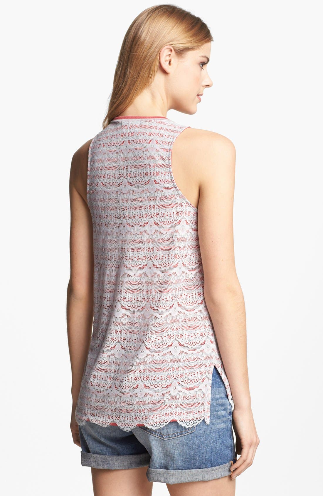 Alternate Image 2  - Pleione Lace Overlay Stripe Tank