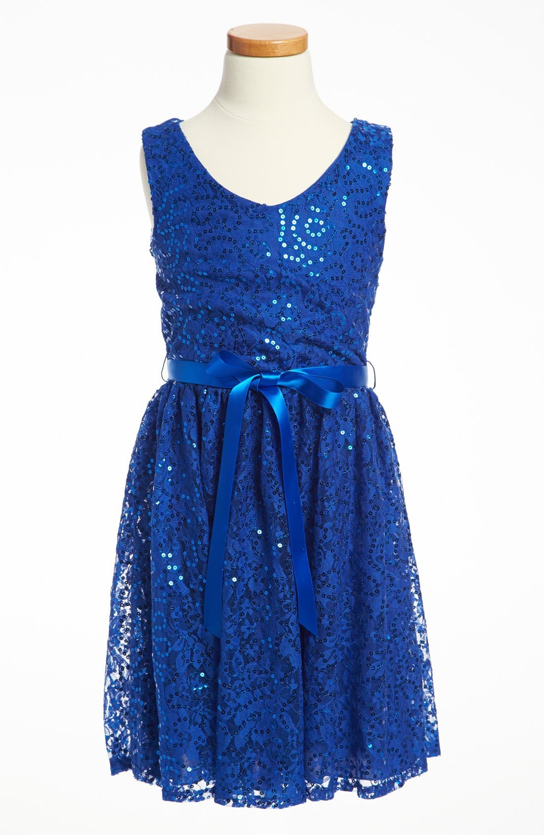 Alternate Image 1 Selected - Un Deux Trois Sequin Party Dress (Big Girls)