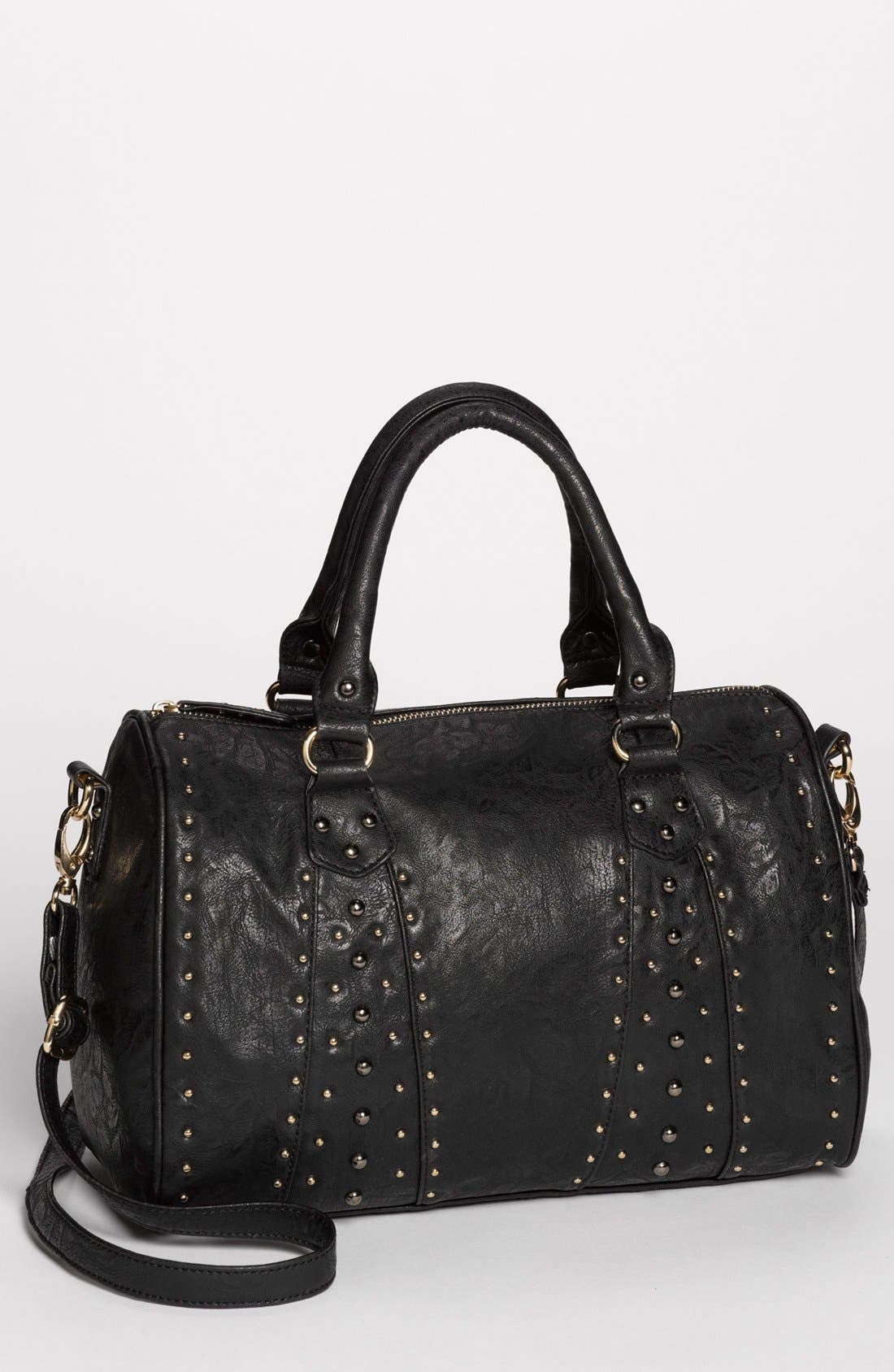 Main Image - Cesca 'Del Cesca' Studded Faux Leather Barrel Tote (Juniors)