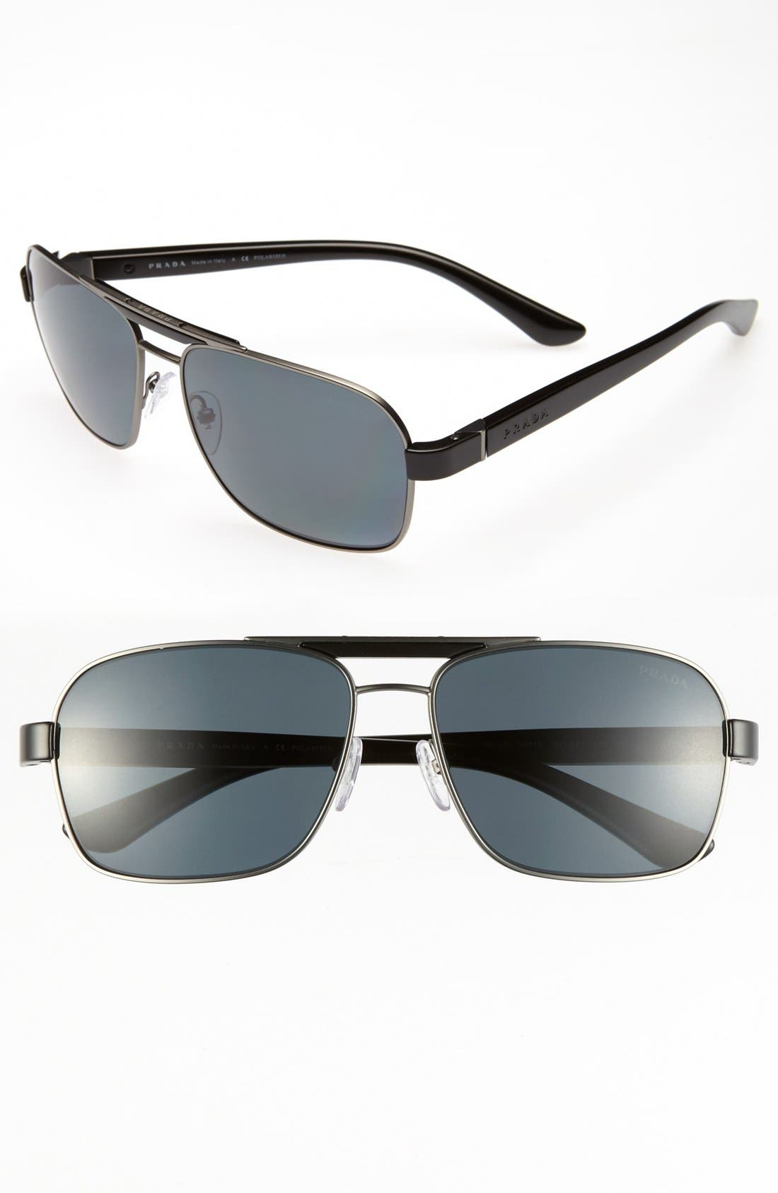 Main Image - Prada 60mm Polarized Retro Sunglasses