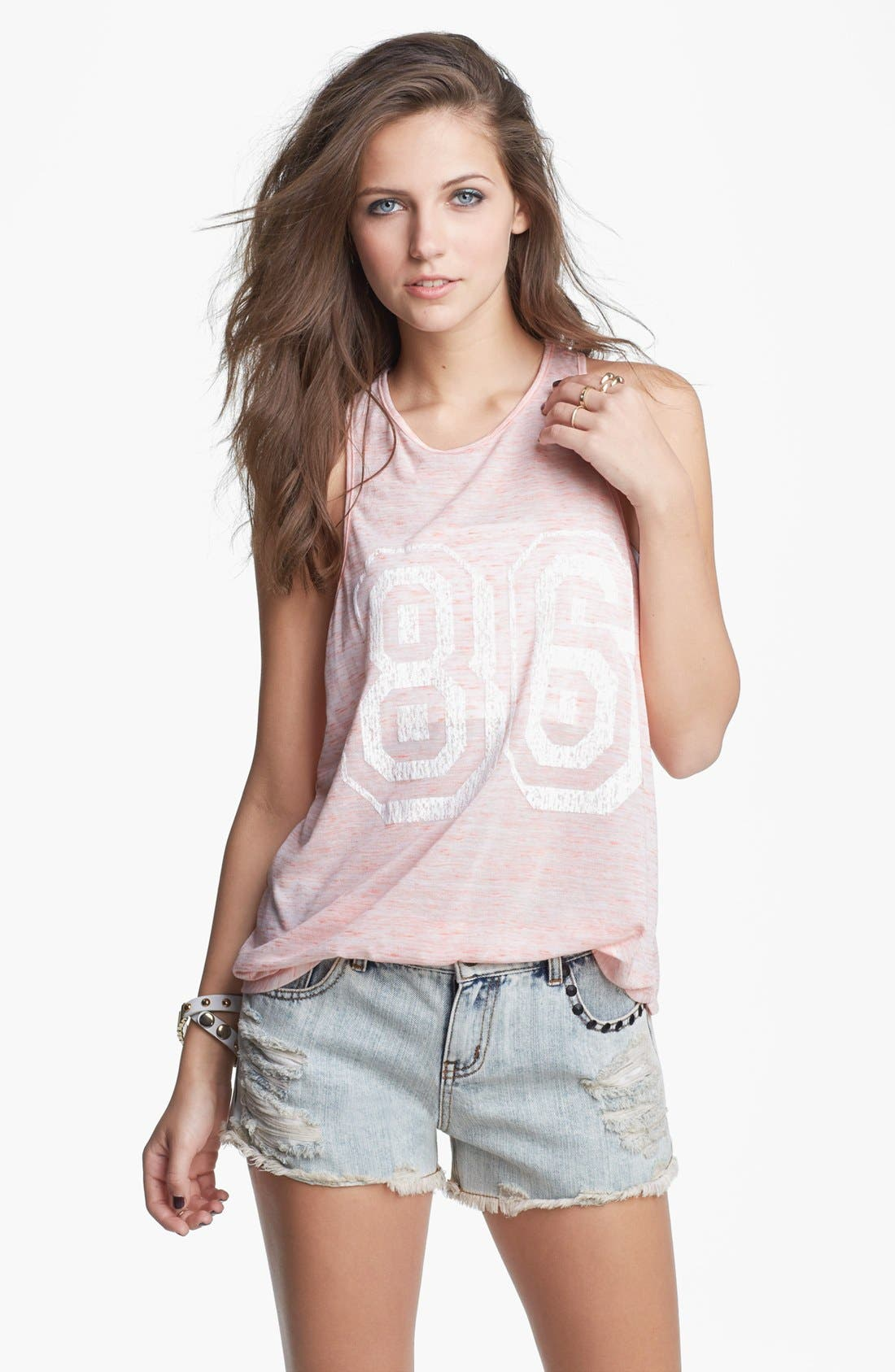 Alternate Image 1 Selected - Lush '86' Graphic High/Low Tank (Juniors)