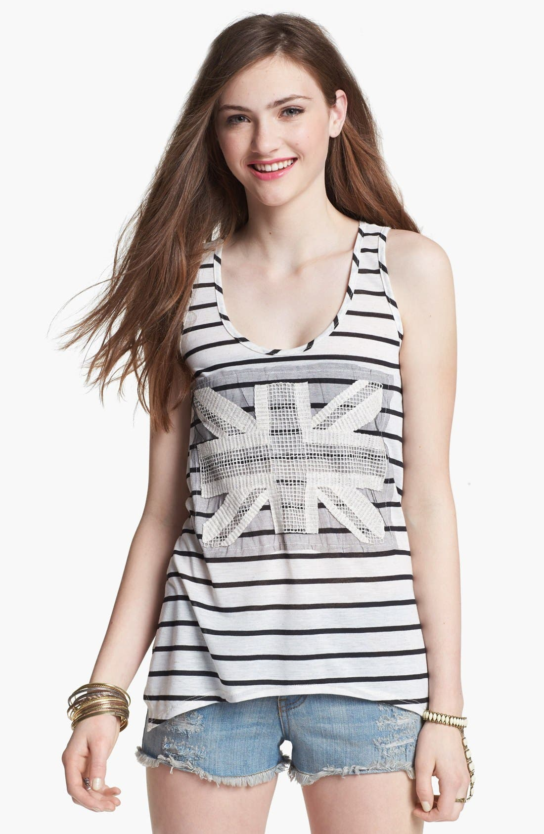 Alternate Image 1 Selected - Mary Jane Appliqué Stripe Tank (Juniors) (Online Only)