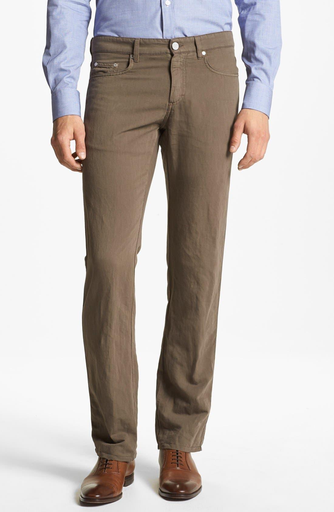 Main Image - Z Zegna Slim Straight Leg Linen Blend Pants
