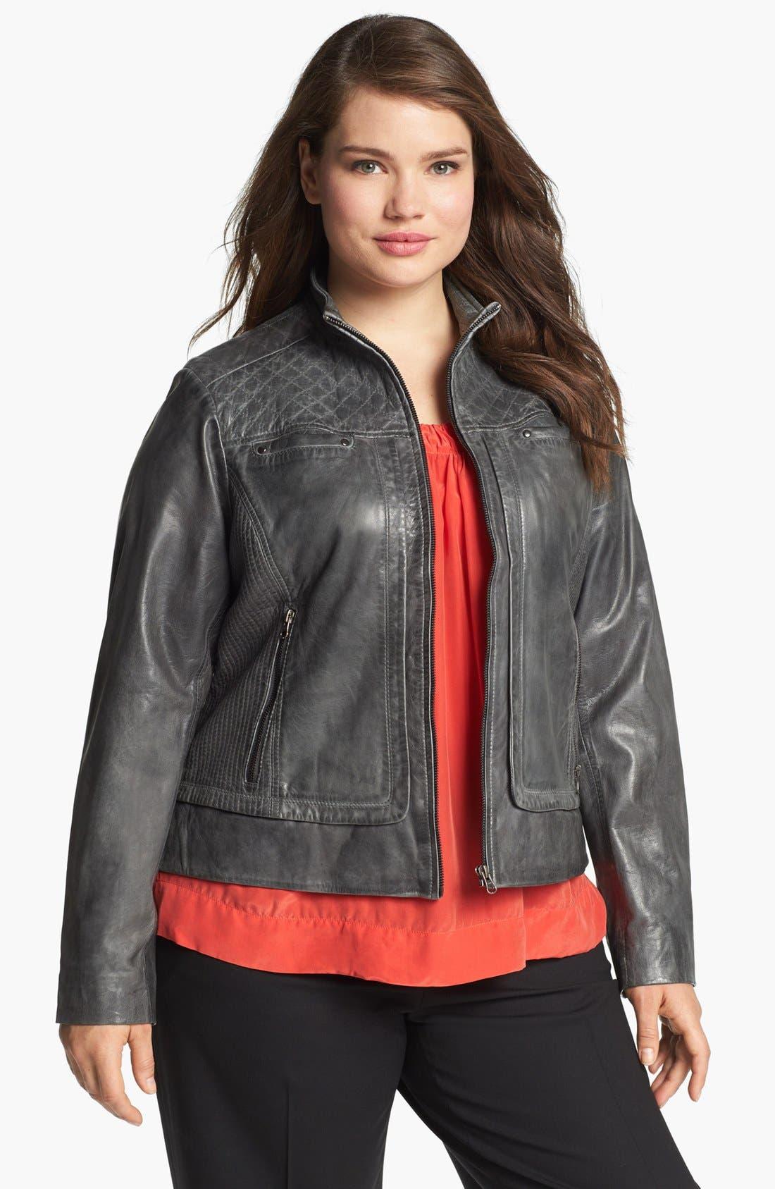 Main Image - Bernardo Quilt Trim Leather Scuba Jacket (Plus Size)