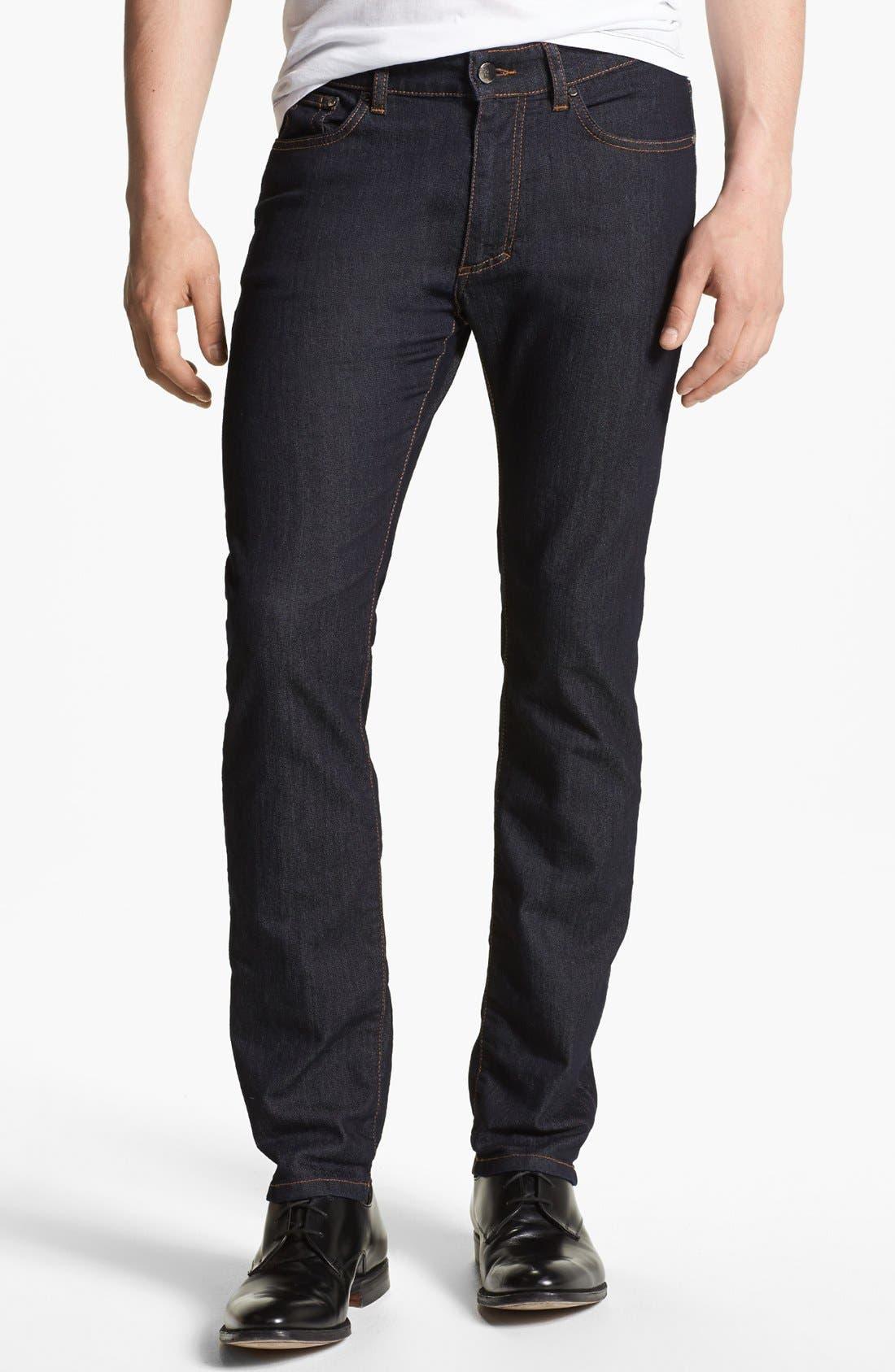 Alternate Image 1 Selected - Versace 'Medusa' Slim Fit Jeans (Dark Navy)