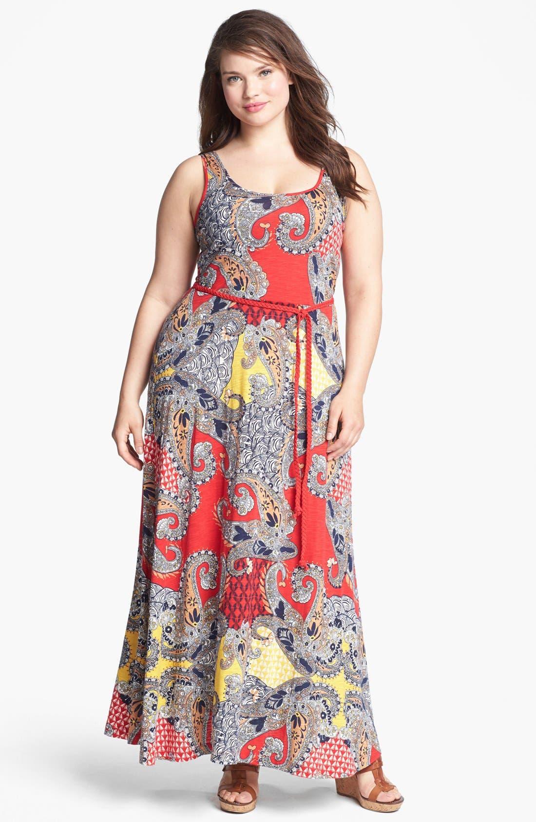 Alternate Image 1 Selected - Lucky Brand 'Marrakesh' Paisley Print Maxi Dress (Plus Size)