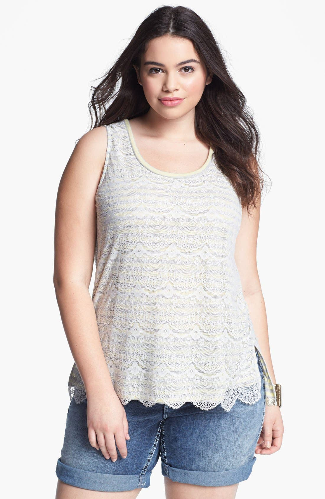 Alternate Image 1 Selected - Pleione Mixed Media Tank (Plus Size)