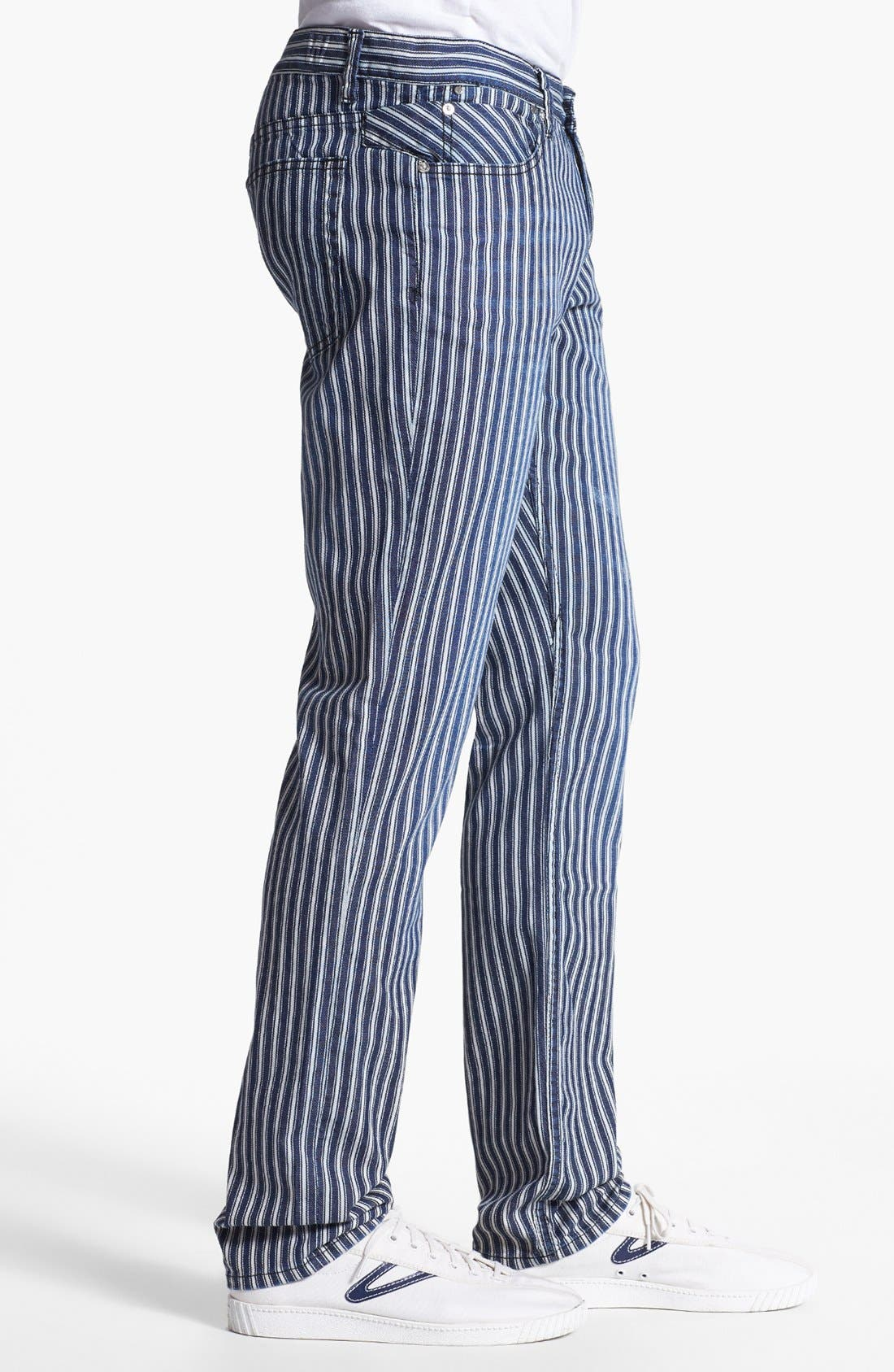 Alternate Image 3  - Williamsburg Garment Company 'Grand Street' Slim Fit Jeans (Engineer Stripe)