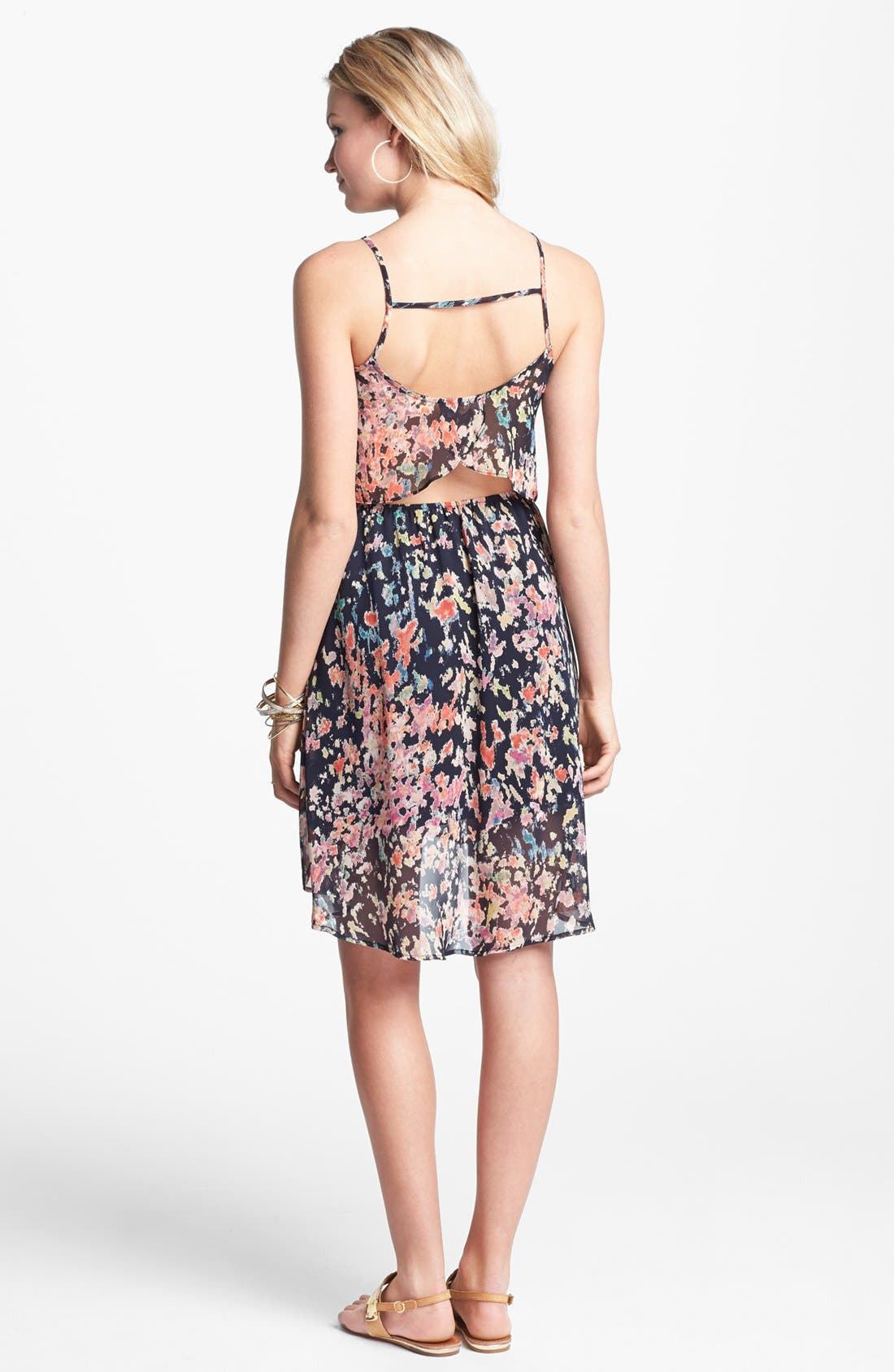 Alternate Image 2  - Lush Cutout Ruffle Chiffon Dress (Juniors)