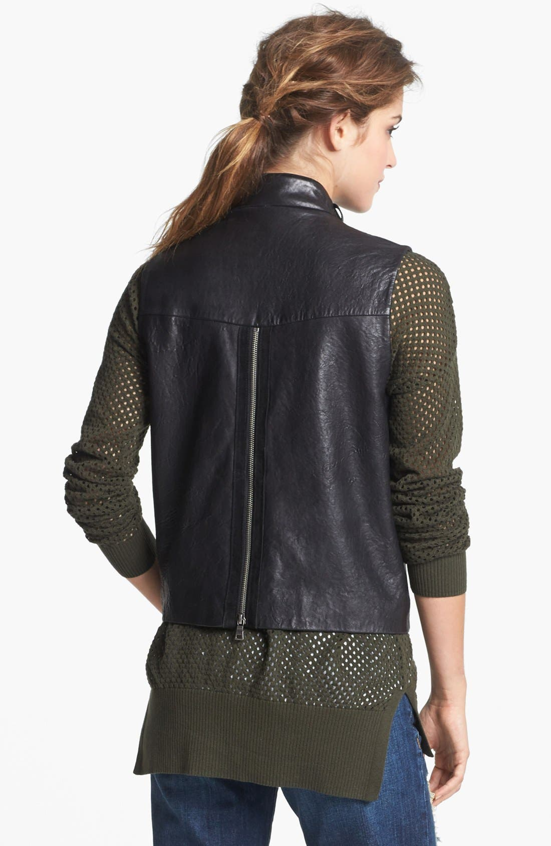 Alternate Image 3  - Two by Vince Camuto Back Zip Faux Leather Moto Vest