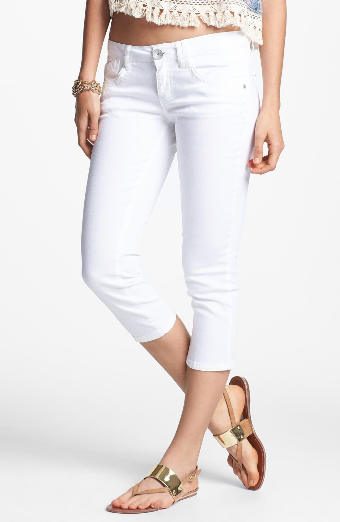 Alternate Image 1 Selected - Jolt Crop Skinny Jeans (White) (Juniors)