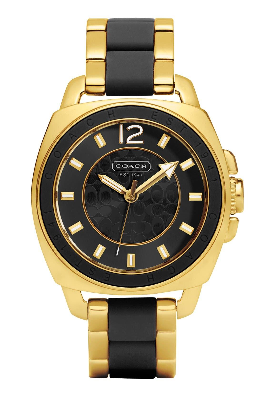 Alternate Image 1 Selected - COACH 'Boyfriend' Silicone Bezel Bracelet Watch