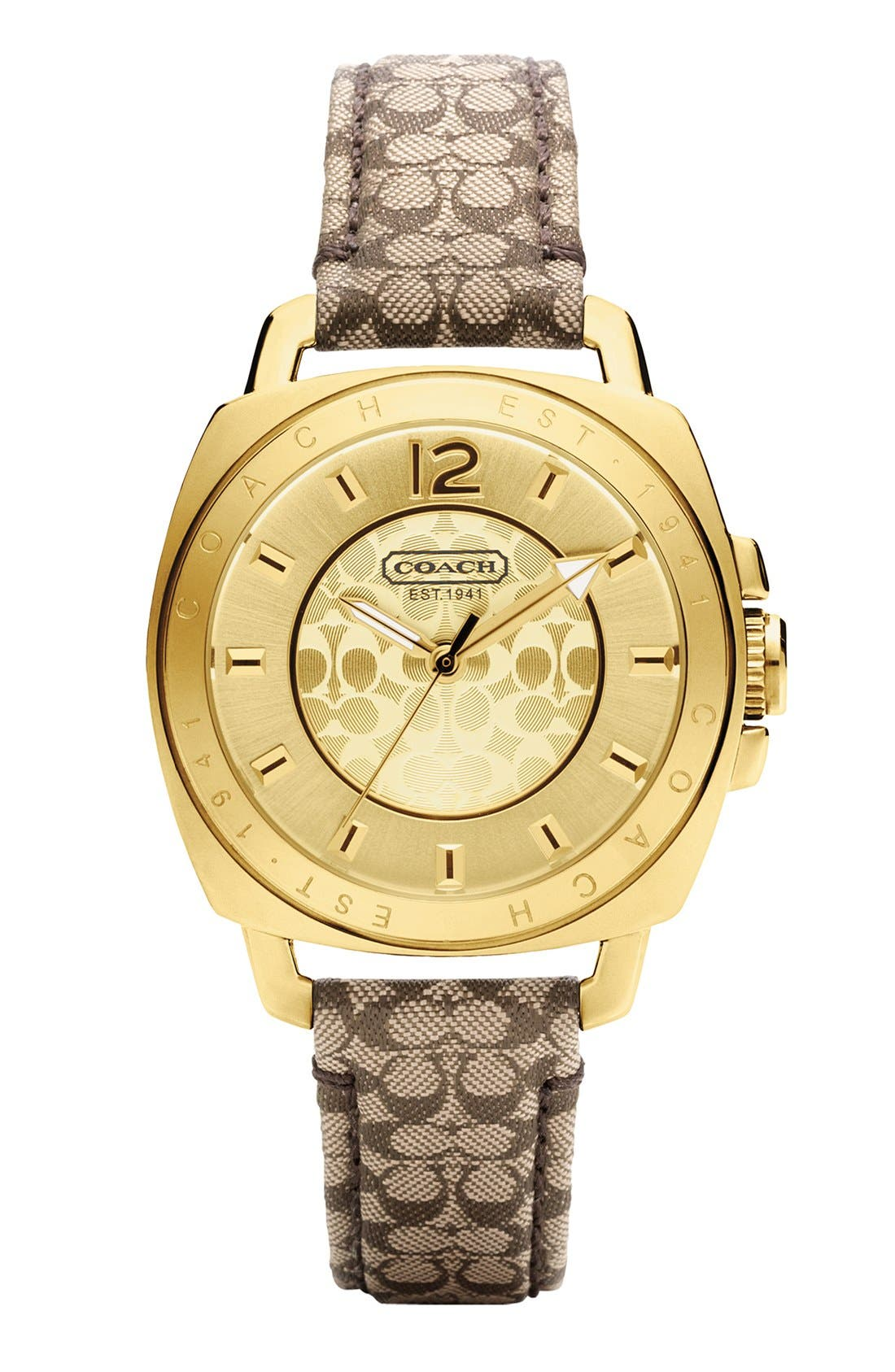 Alternate Image 1 Selected - COACH 'Boyfriend' Signature Strap Watch, 35mm