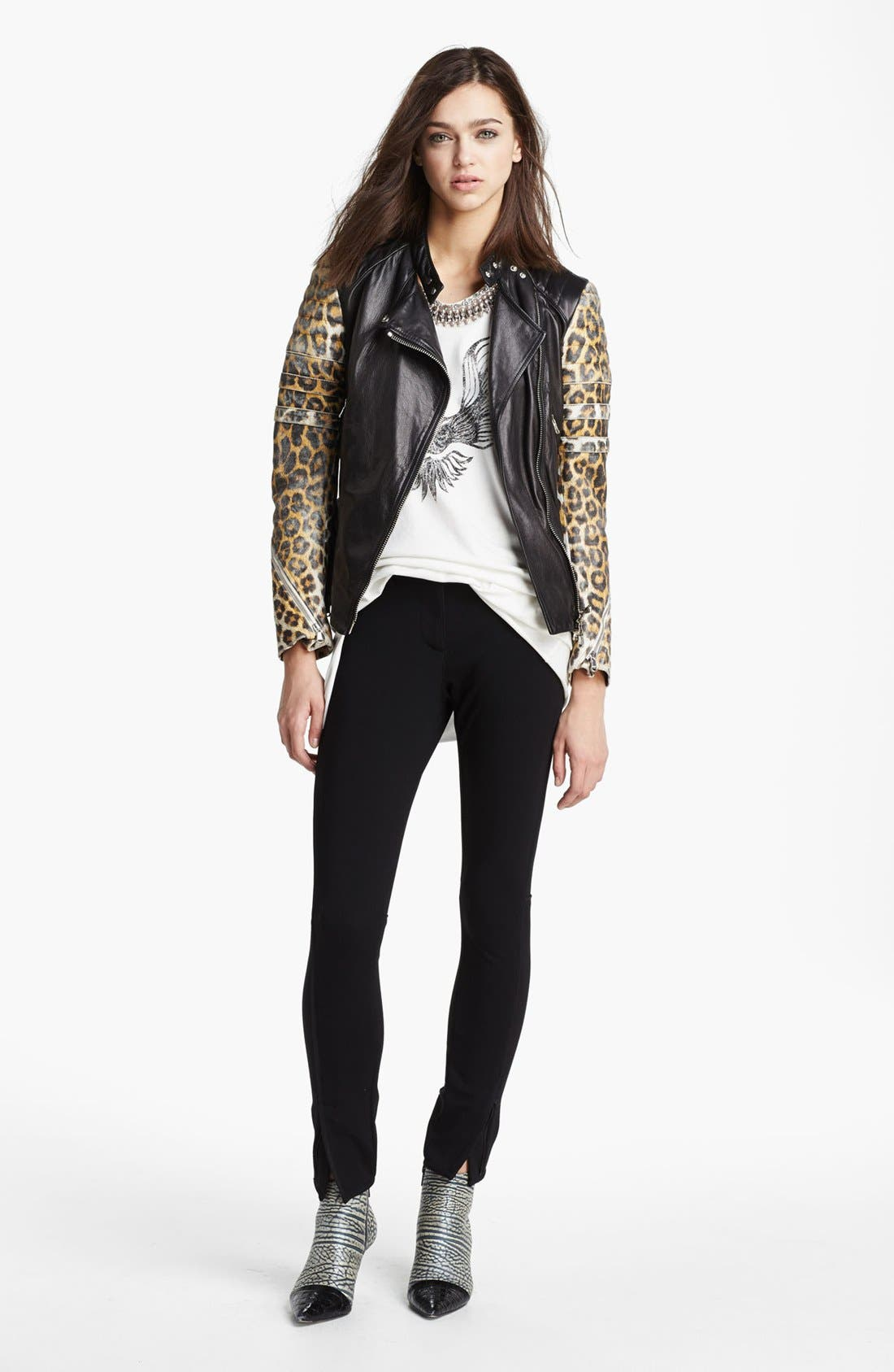 Alternate Image 2  - 3.1 Phillip Lim Quilted Sleeve Leather Moto Jacket