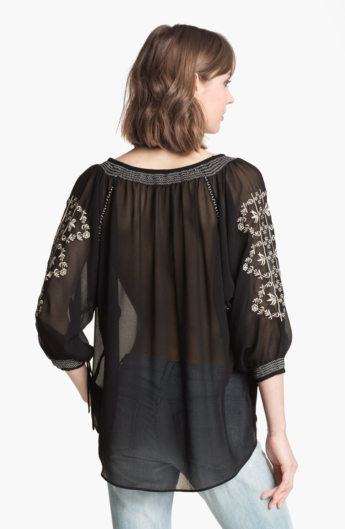 Alternate Image 2  - Willow & Clay Embroidered Chiffon Peasant Top
