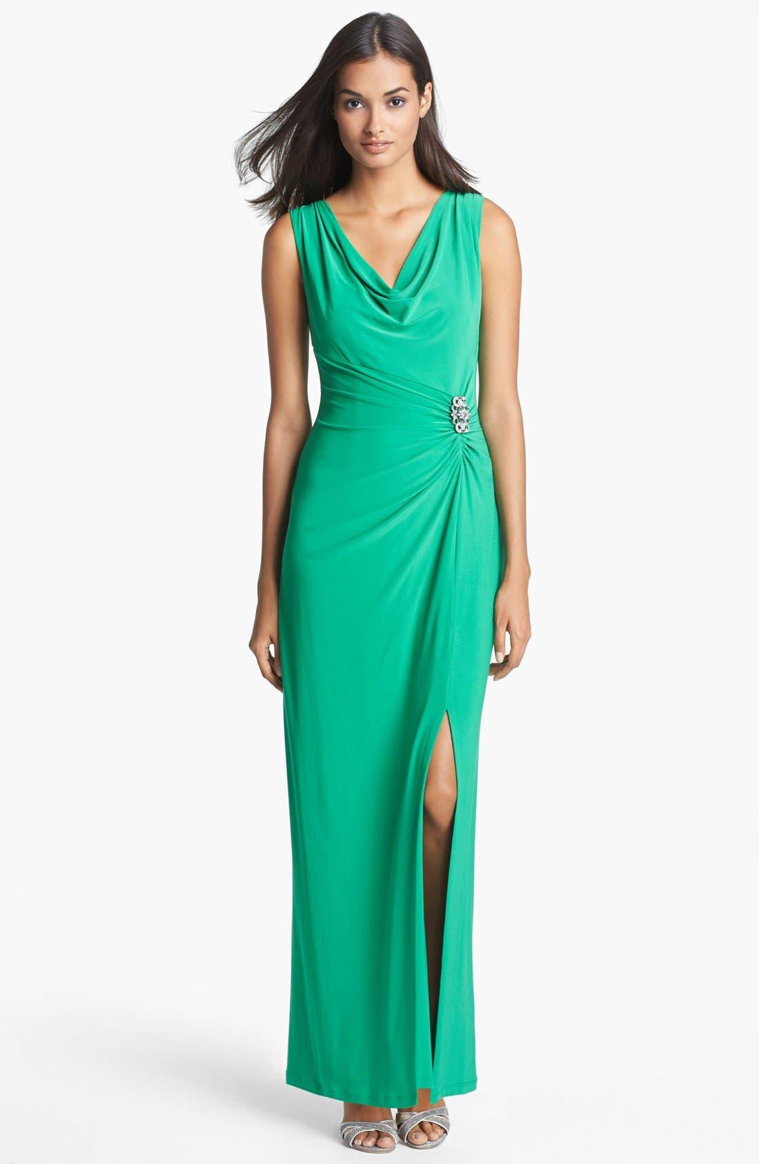 Main Image - Lauren Ralph Lauren Embellished Matte Jersey Column Gown (Regular & Petite)