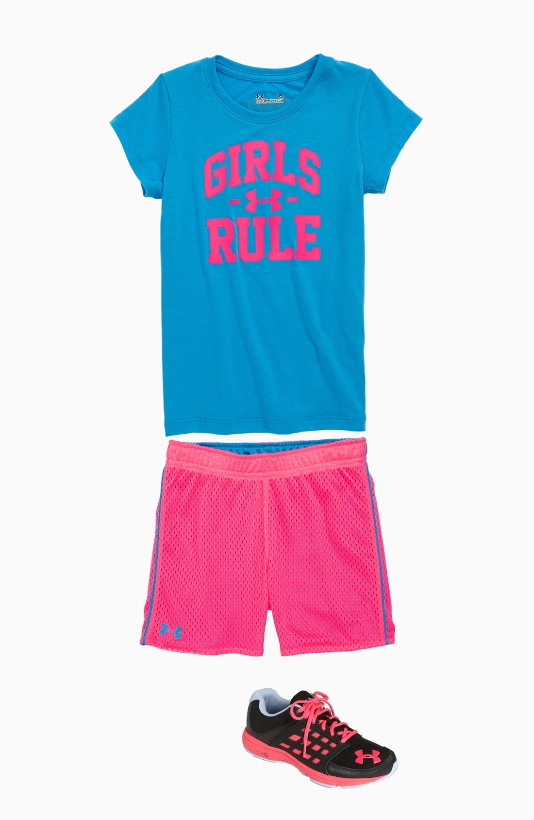 Alternate Image 1 Selected - Under Armour Tee & Reversible Shorts (Little Girls)