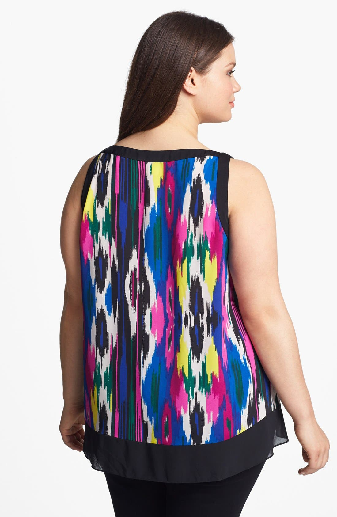 Alternate Image 2  - DKNYC Sleeveless Print High/Low Blouse (Plus Size)